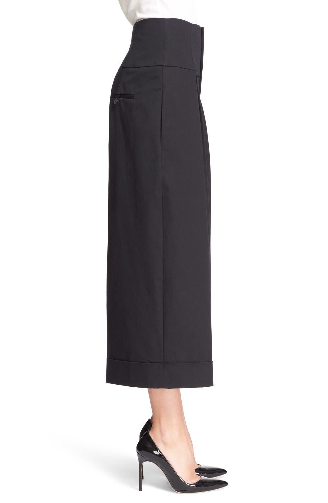 Wide Leg Stretch Cotton Crop Pants,                             Alternate thumbnail 2, color,                             001