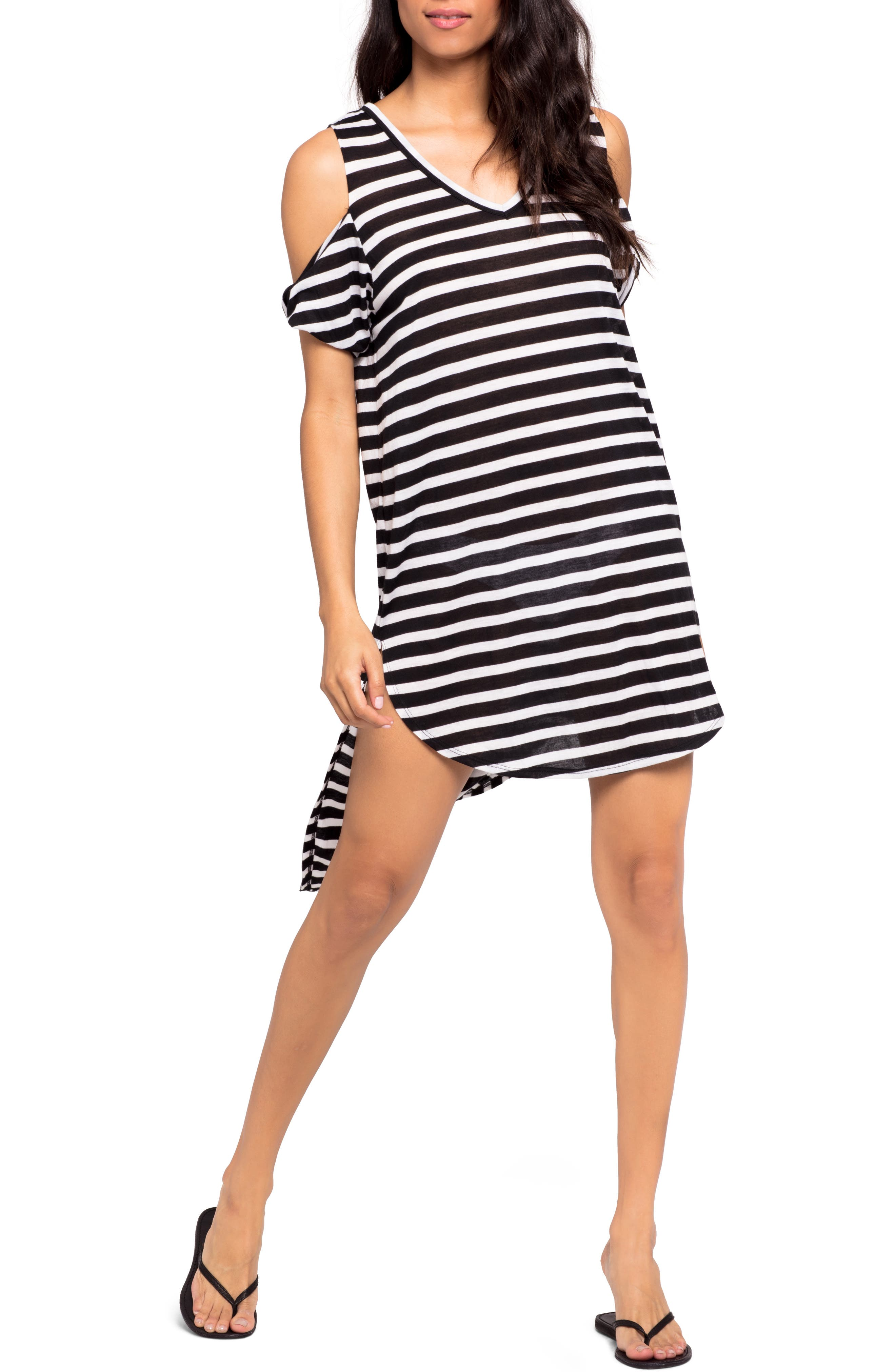 Mays High/Low Cover-Up Tee,                         Main,                         color, DOMINO STRIPE