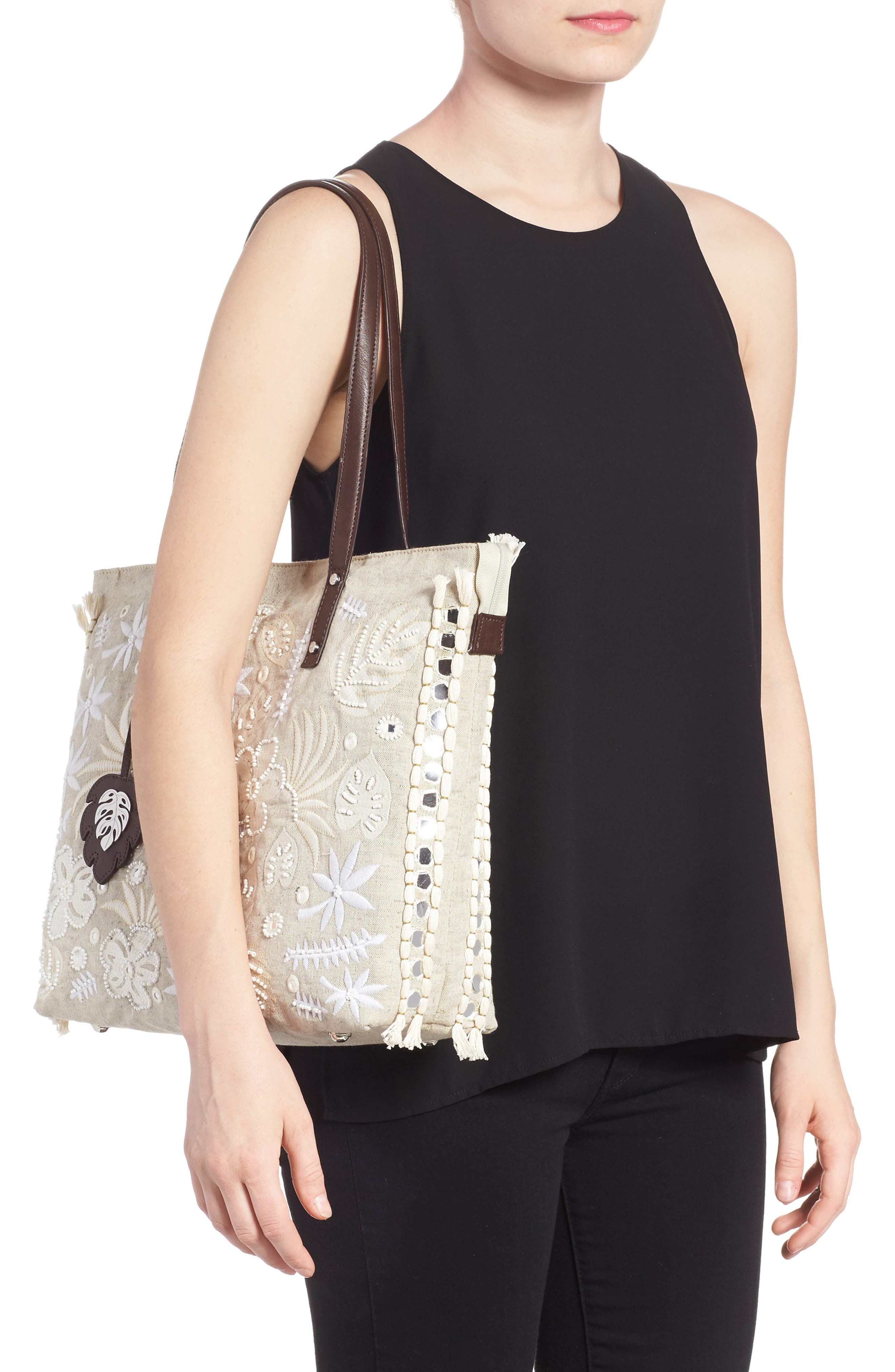 Belize Embroidered Canvas Tote,                             Alternate thumbnail 2, color,                             250