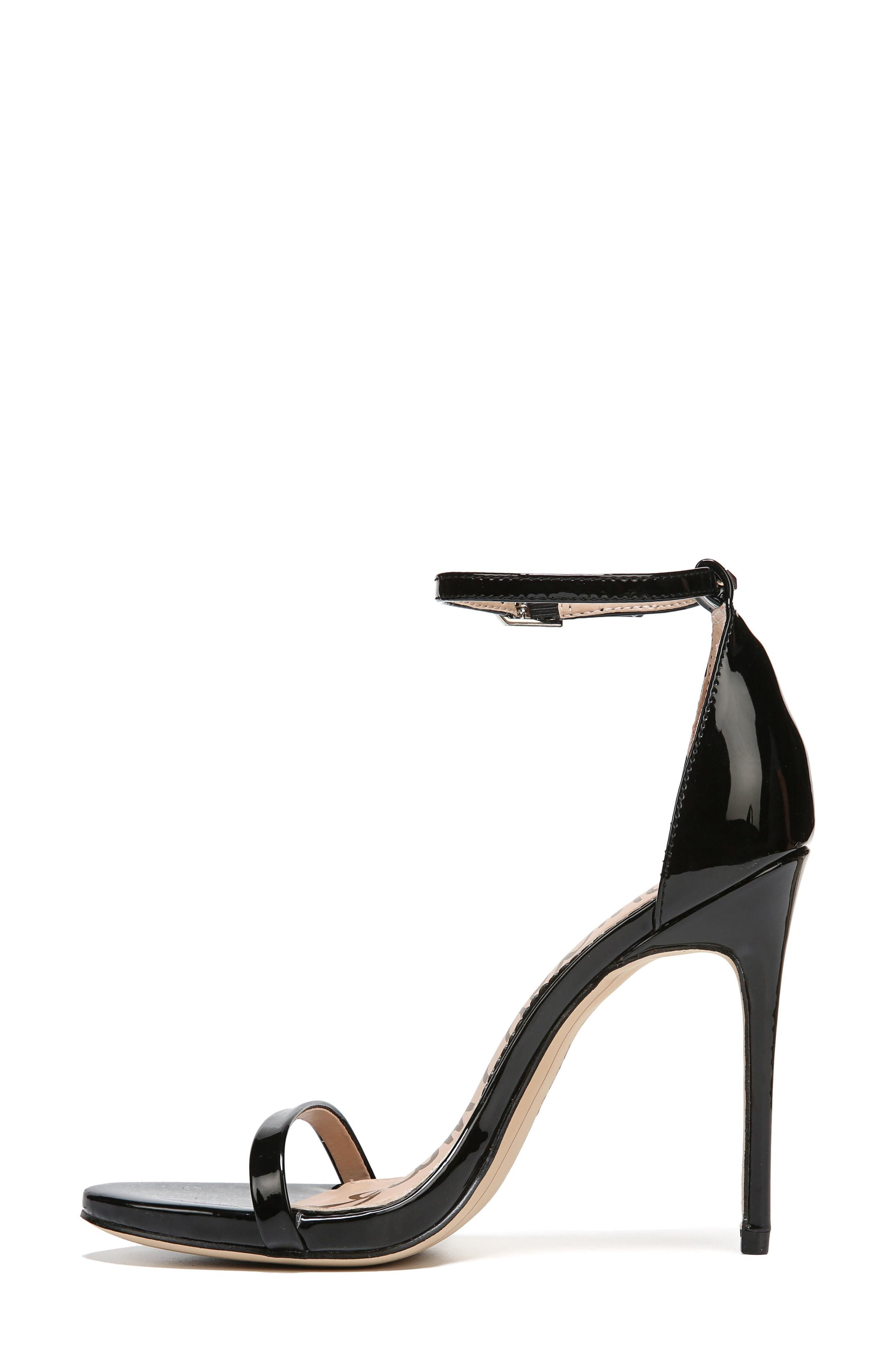 Ariella Ankle Strap Sandal,                             Alternate thumbnail 3, color,                             BLACK PATENT LEATHER