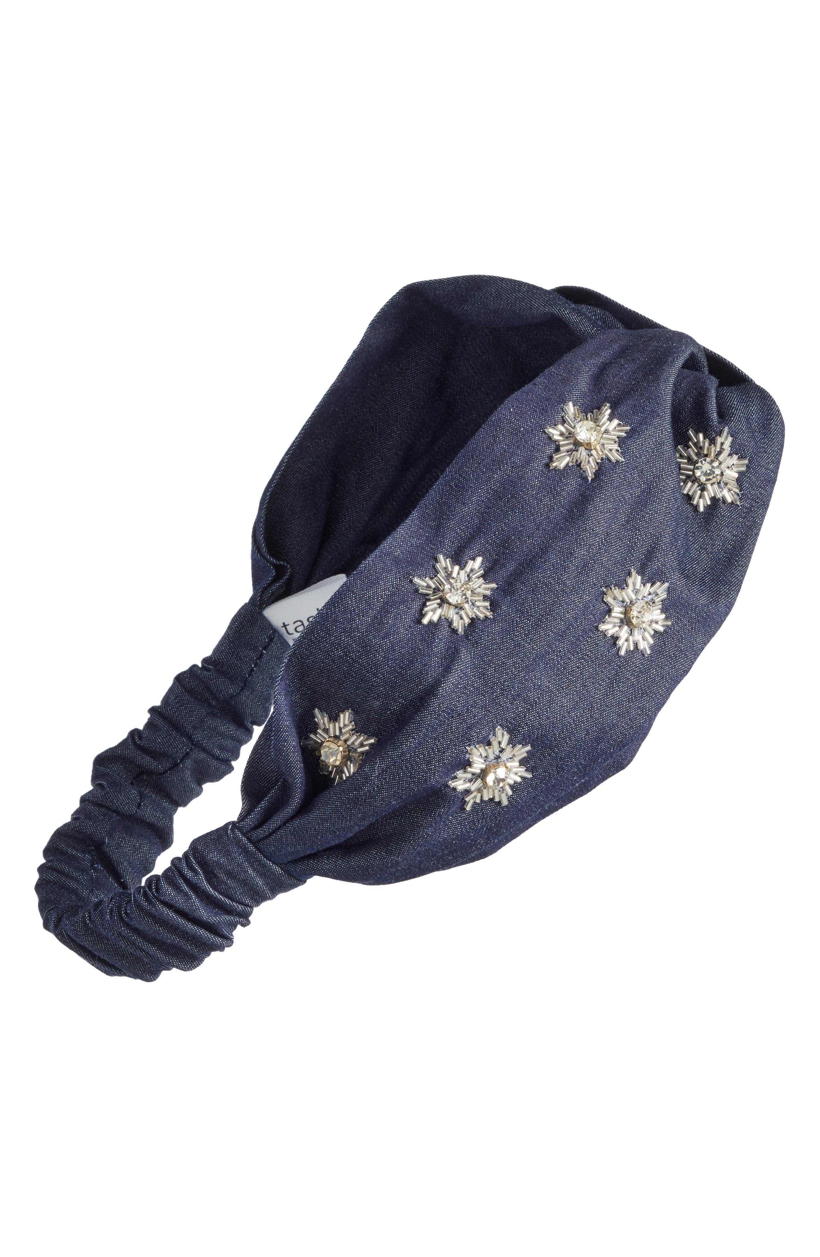 Starburst Denim Twisted Head Wrap,                         Main,                         color, 400
