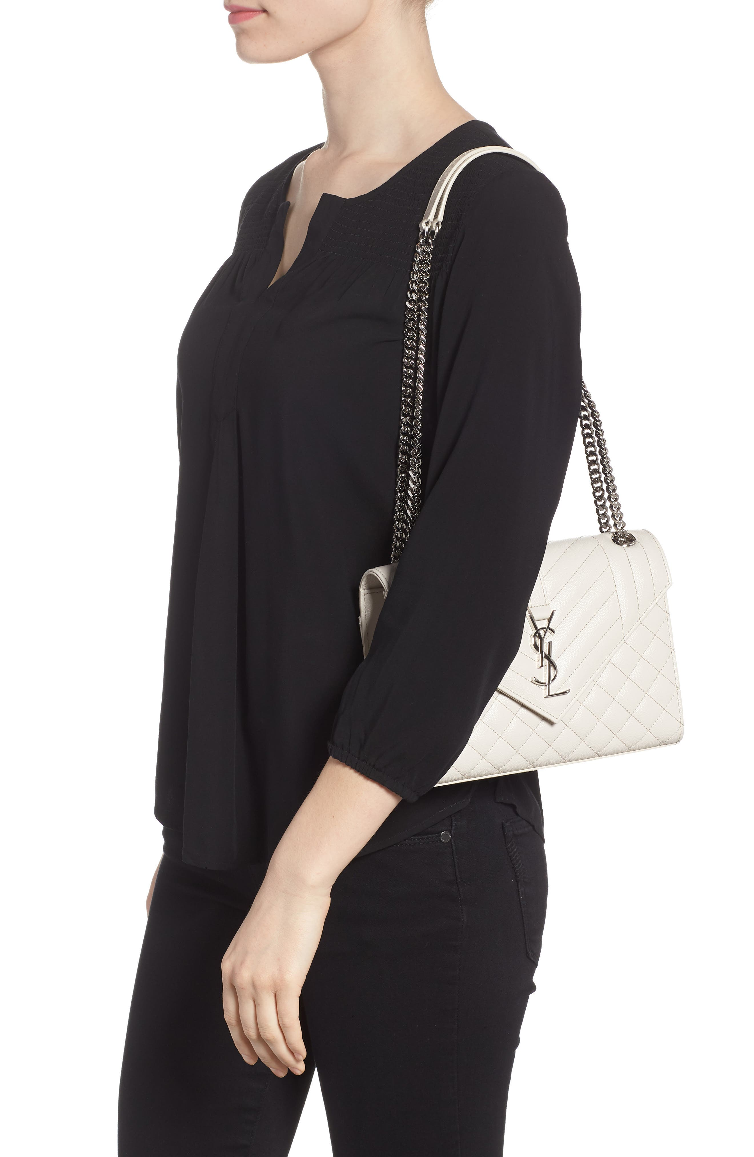 Medium Cassandra Calfskin Shoulder Bag,                             Alternate thumbnail 2, color,                             ICY WHITE/ ICY WHITE