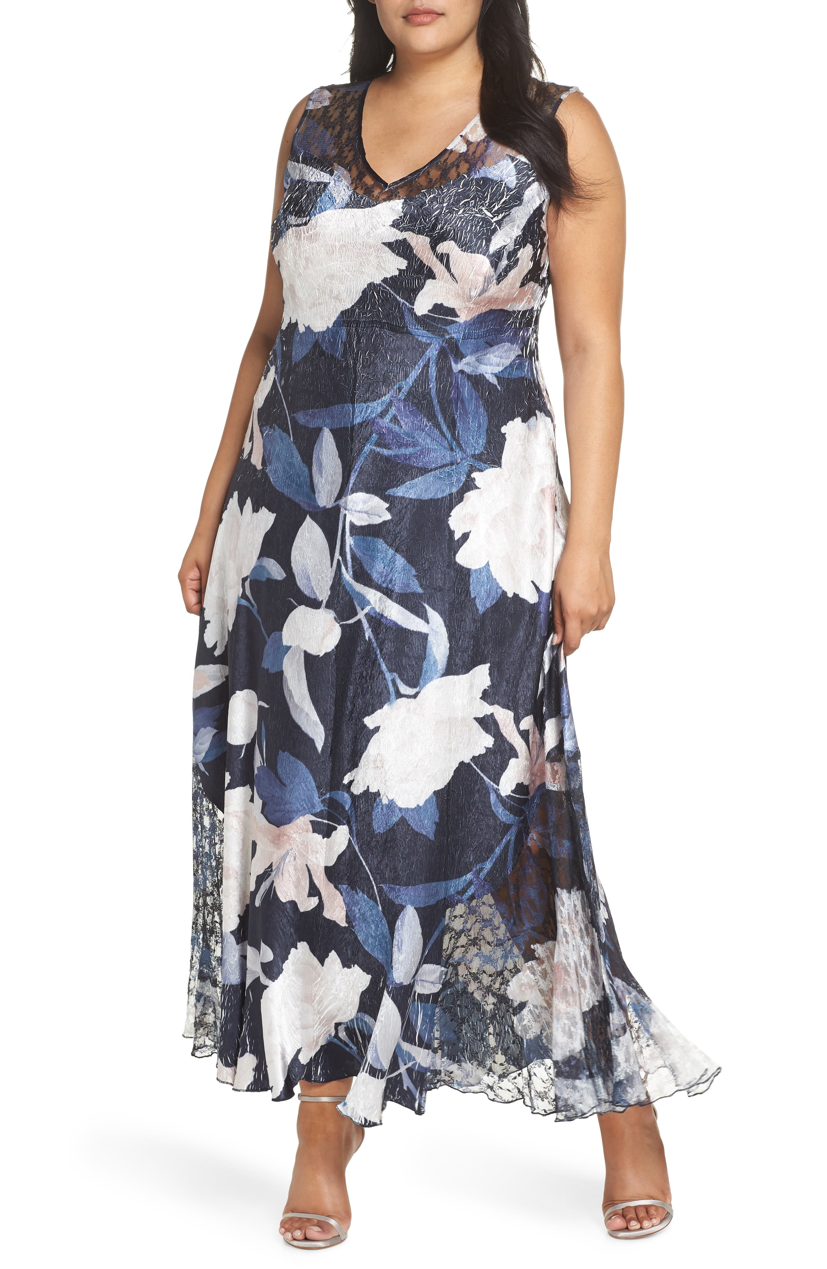 Plus Size Komarov Lace-Up Maxi Dress, Blue