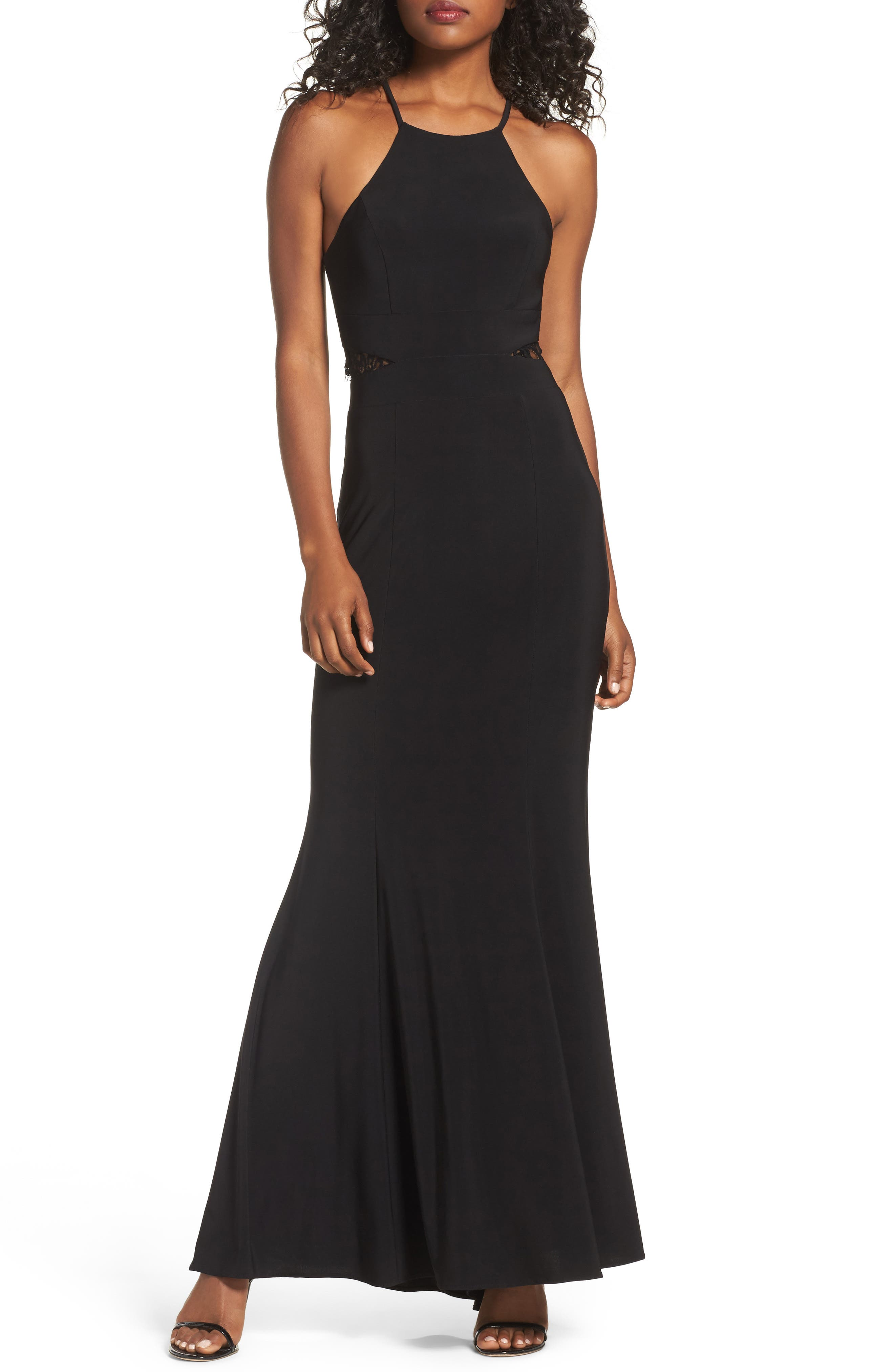 Lace & Jersey Mermaid Gown,                             Main thumbnail 1, color,                             BLACK