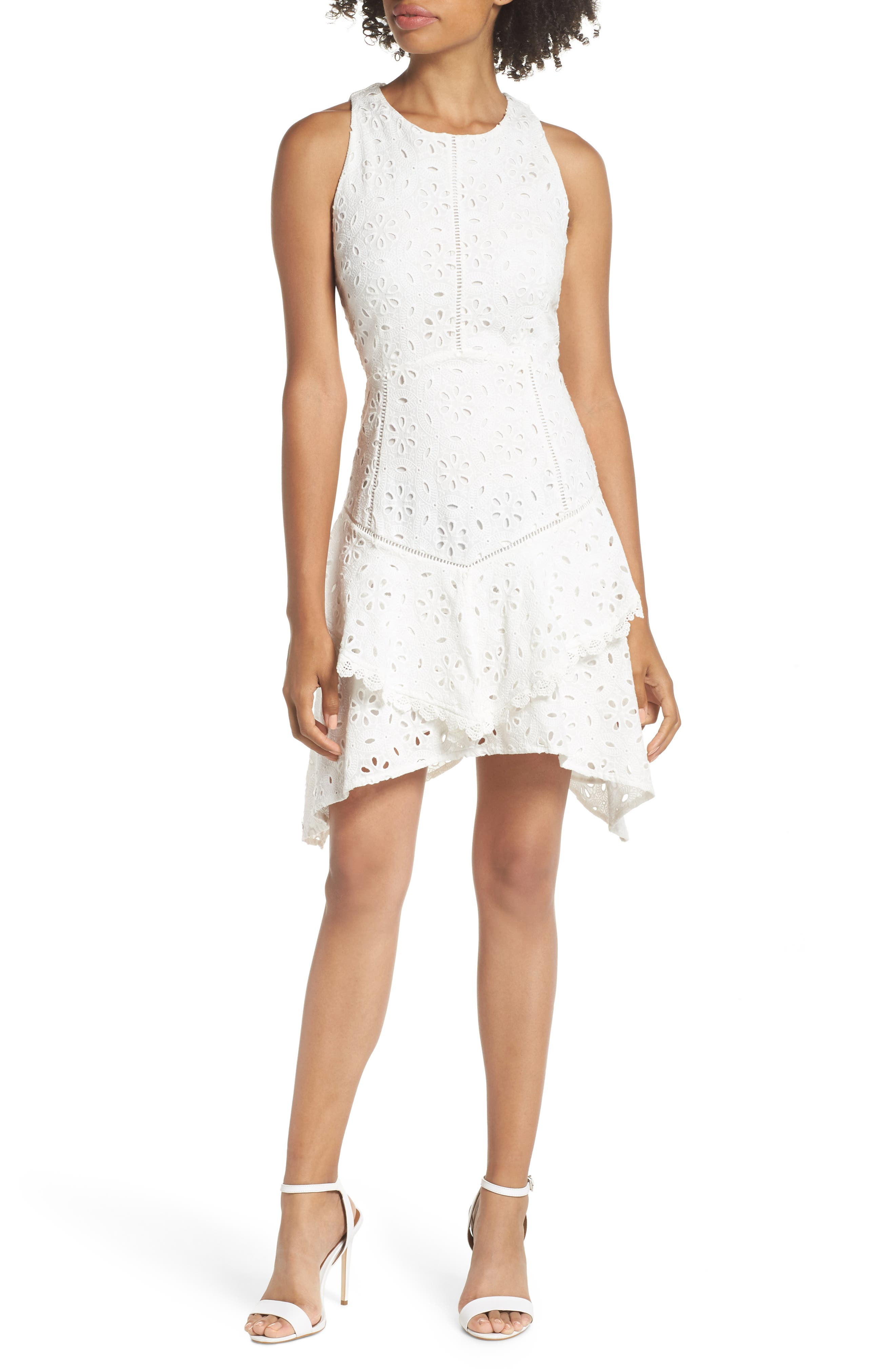 Eyelet Layered Fit & Flare Dress,                         Main,                         color, 100