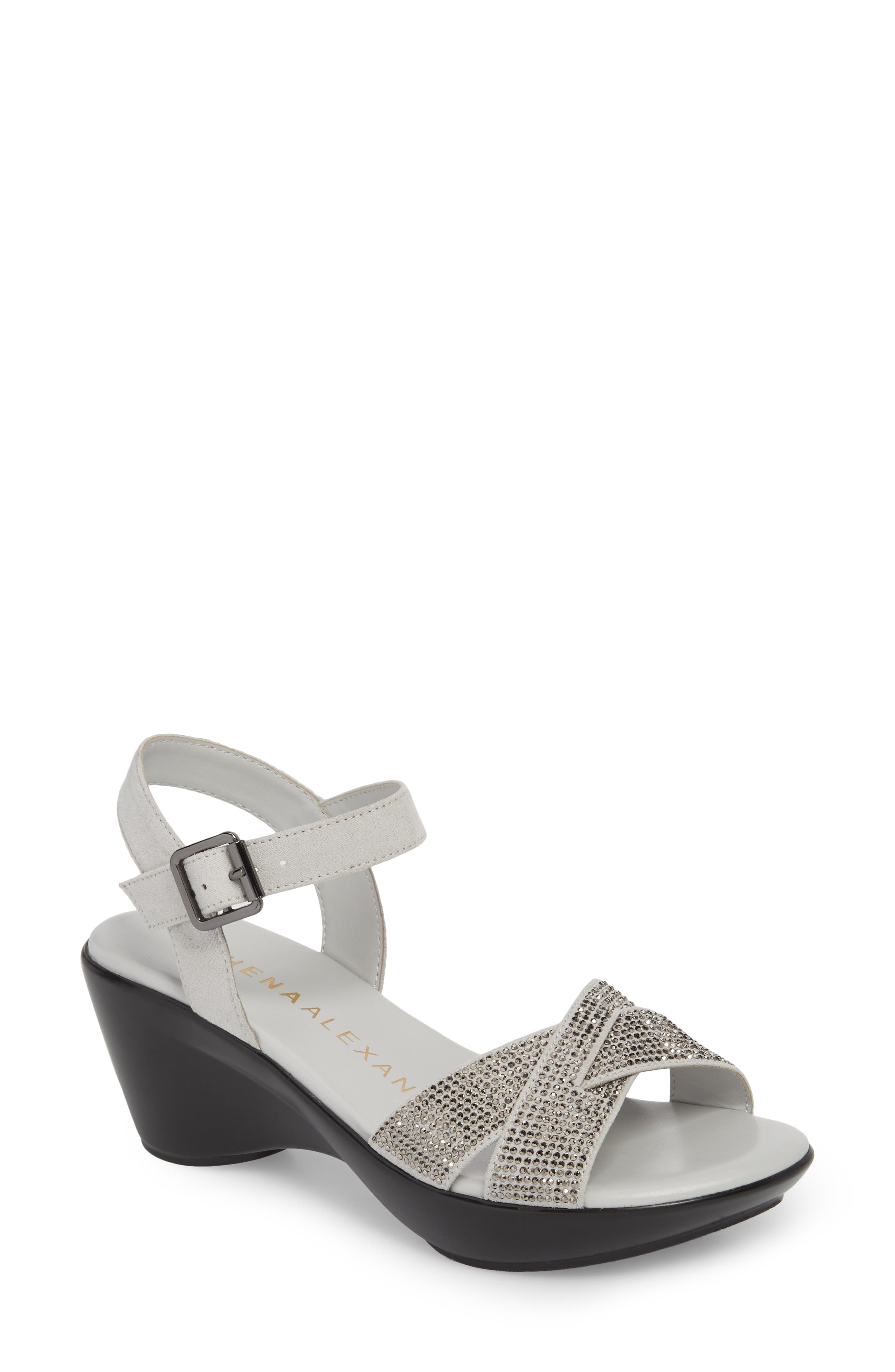 Florence Wedge Sandal,                             Main thumbnail 1, color,                             GREY FAUX SUEDE