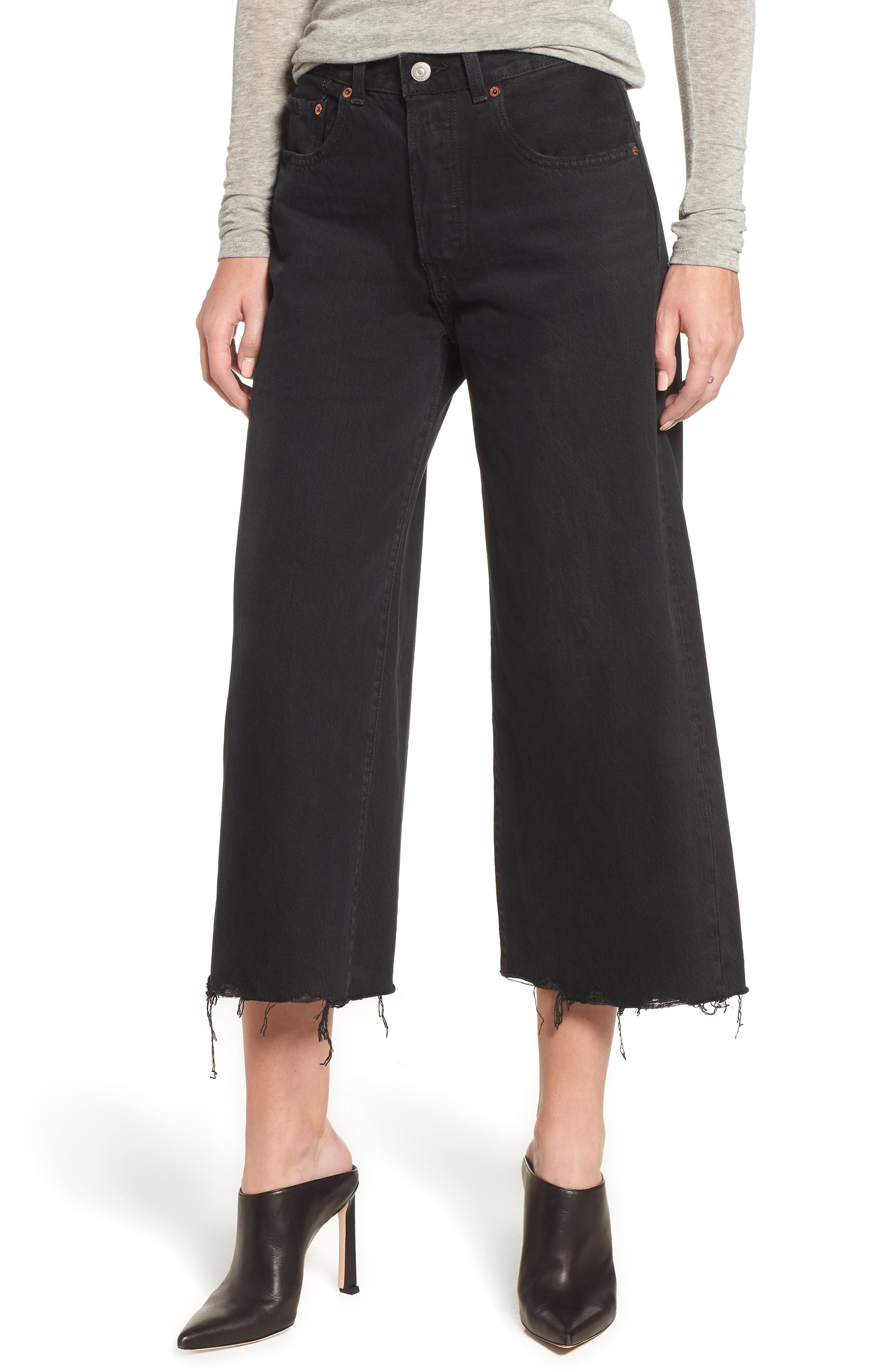 High Water Wide Leg Jeans In Damn Straight in Black