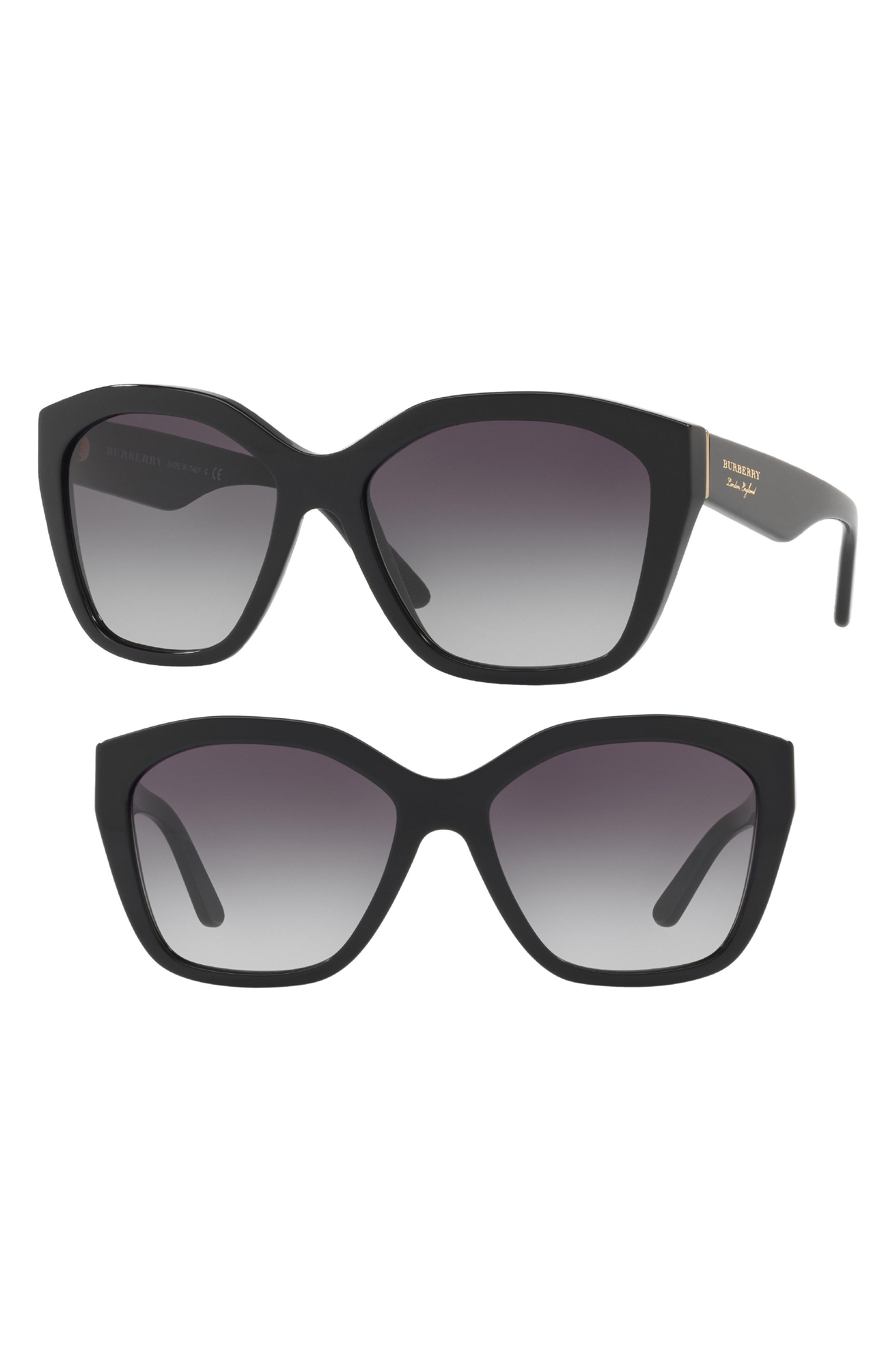 57mm Gradient Sunglasses,                             Alternate thumbnail 2, color,                             BLACK