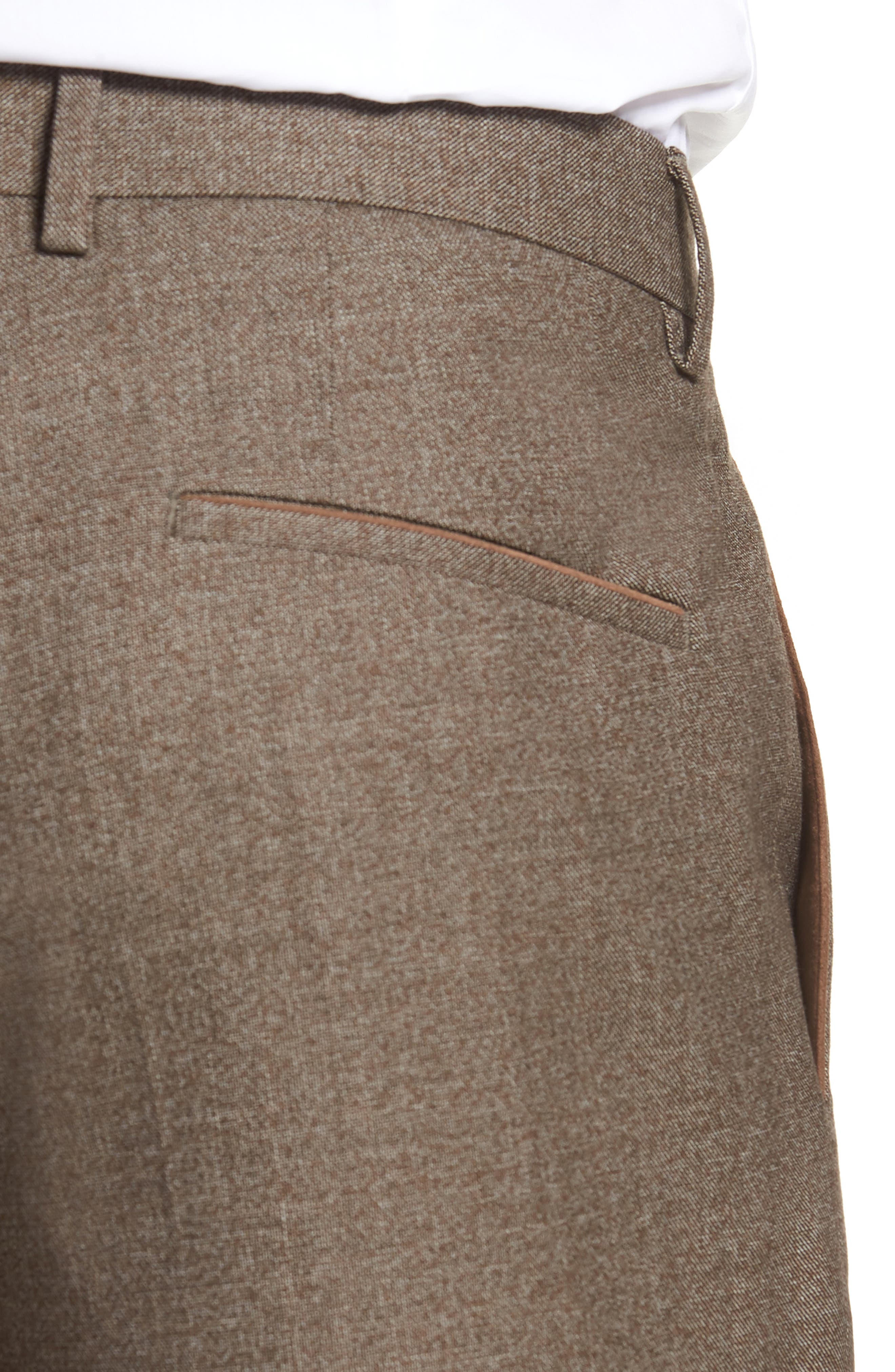 Giro Flat Front Solid Wool & Cotton Trousers,                             Alternate thumbnail 4, color,                             LIGHT/ PASTEL BROWN