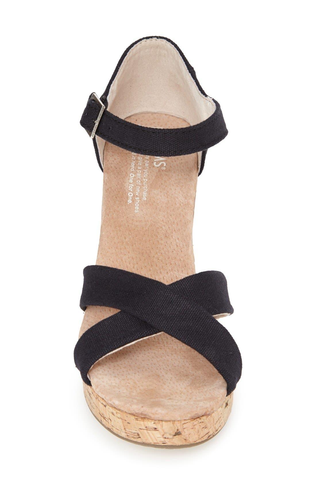 Canvas Ankle Strap Wedge Sandal,                             Alternate thumbnail 2, color,                             001
