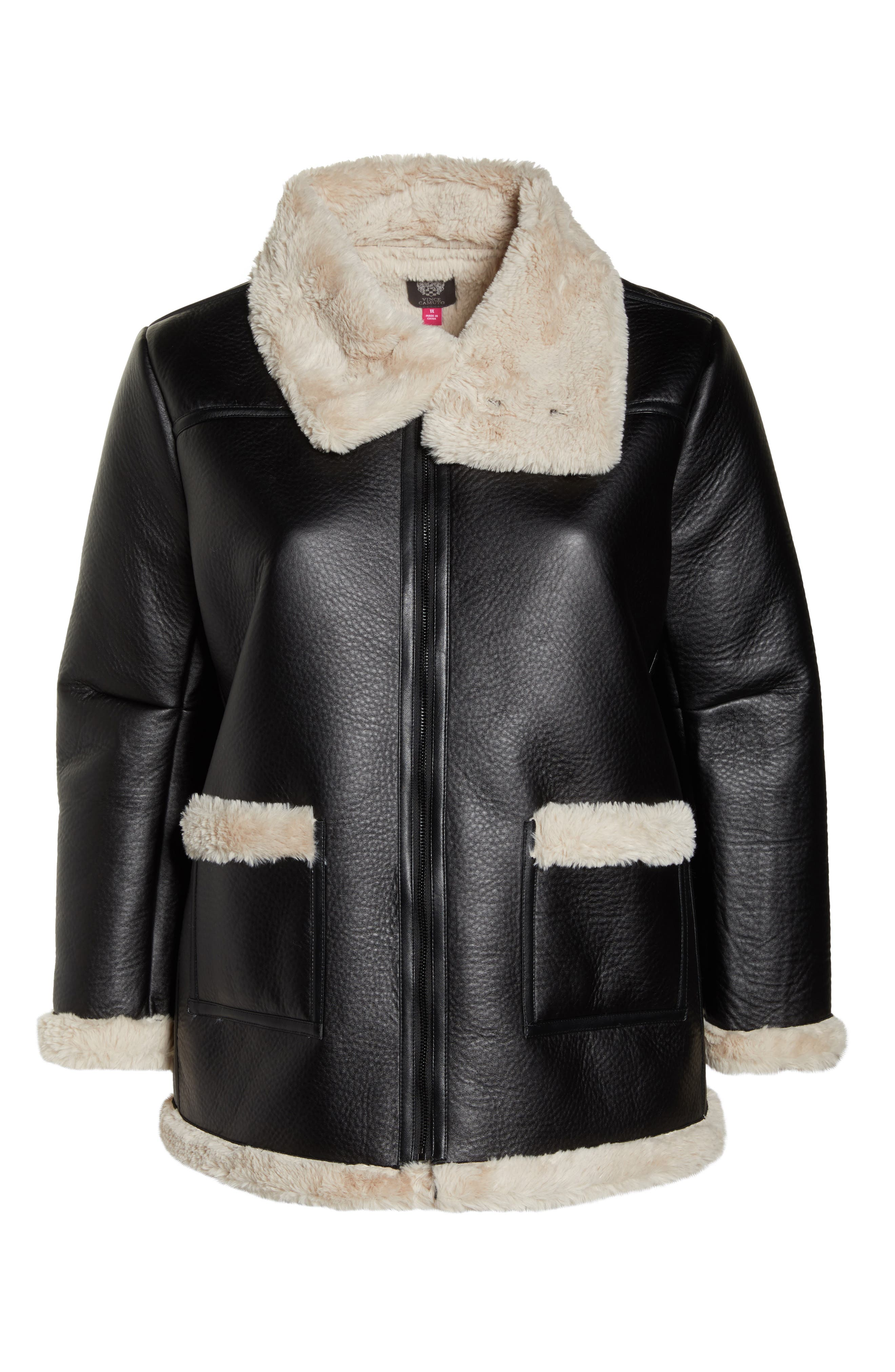 Faux Shearling Jacket,                             Alternate thumbnail 5, color,                             RICH BLACK