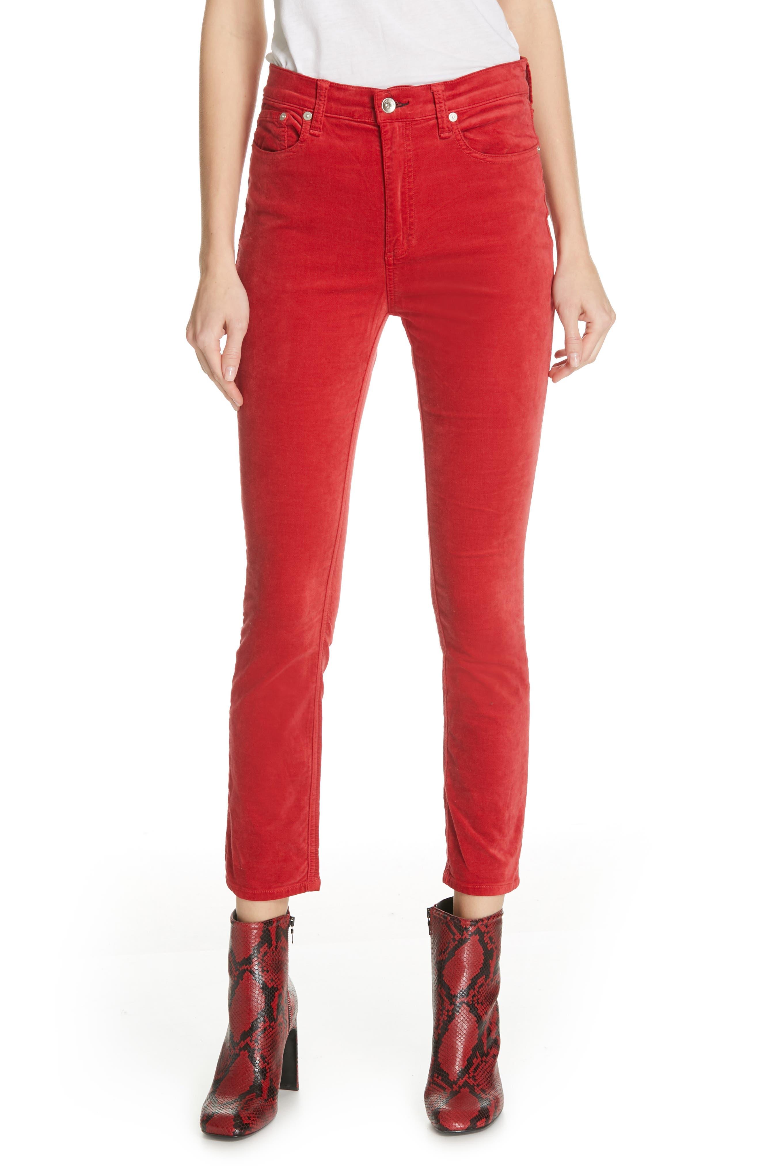 RAG & BONE High Waist Velvet Skinny Pants, Main, color, 620