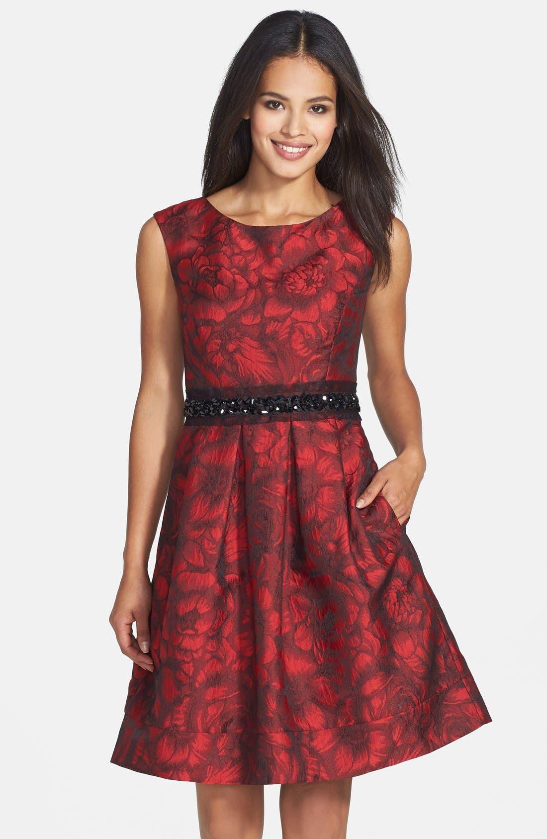 Embellished Waist Brocade Fit & Flare Dress,                             Main thumbnail 1, color,                             614