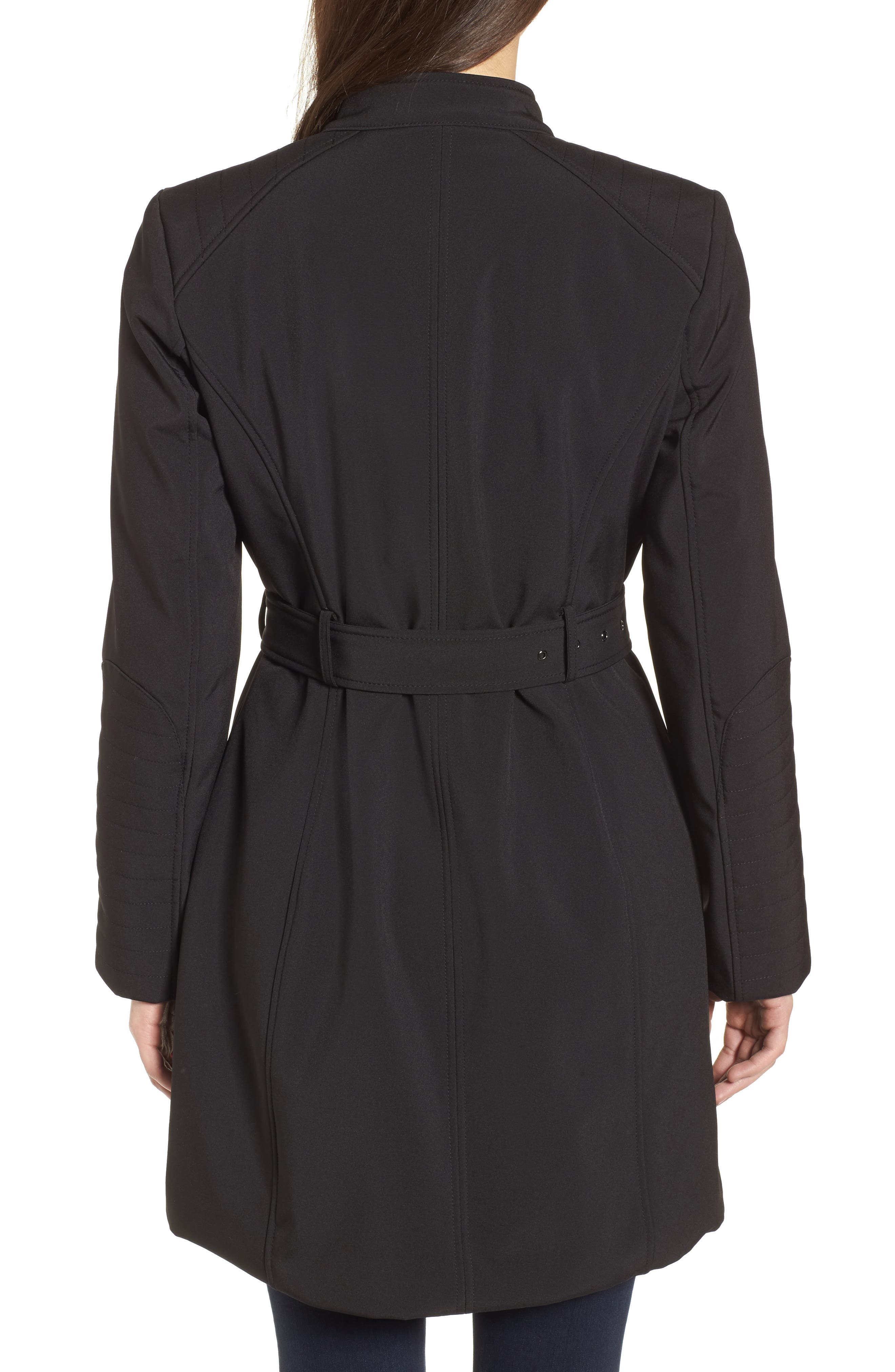 Asymmetrical Belted Trench Coat,                             Alternate thumbnail 2, color,                             001