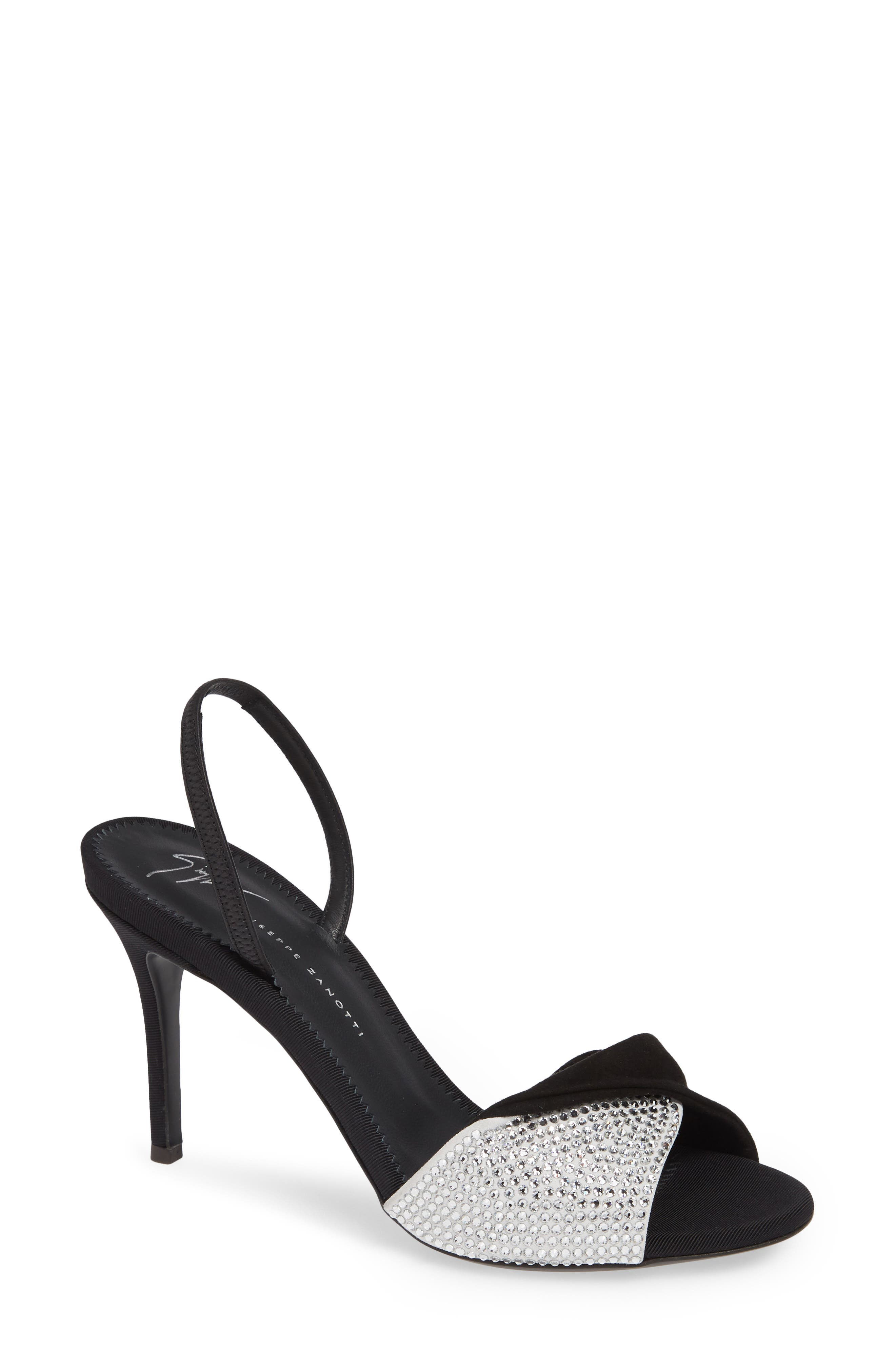 Swarovski Crystal Embellished Slingback Sandal,                         Main,                         color, BLACK