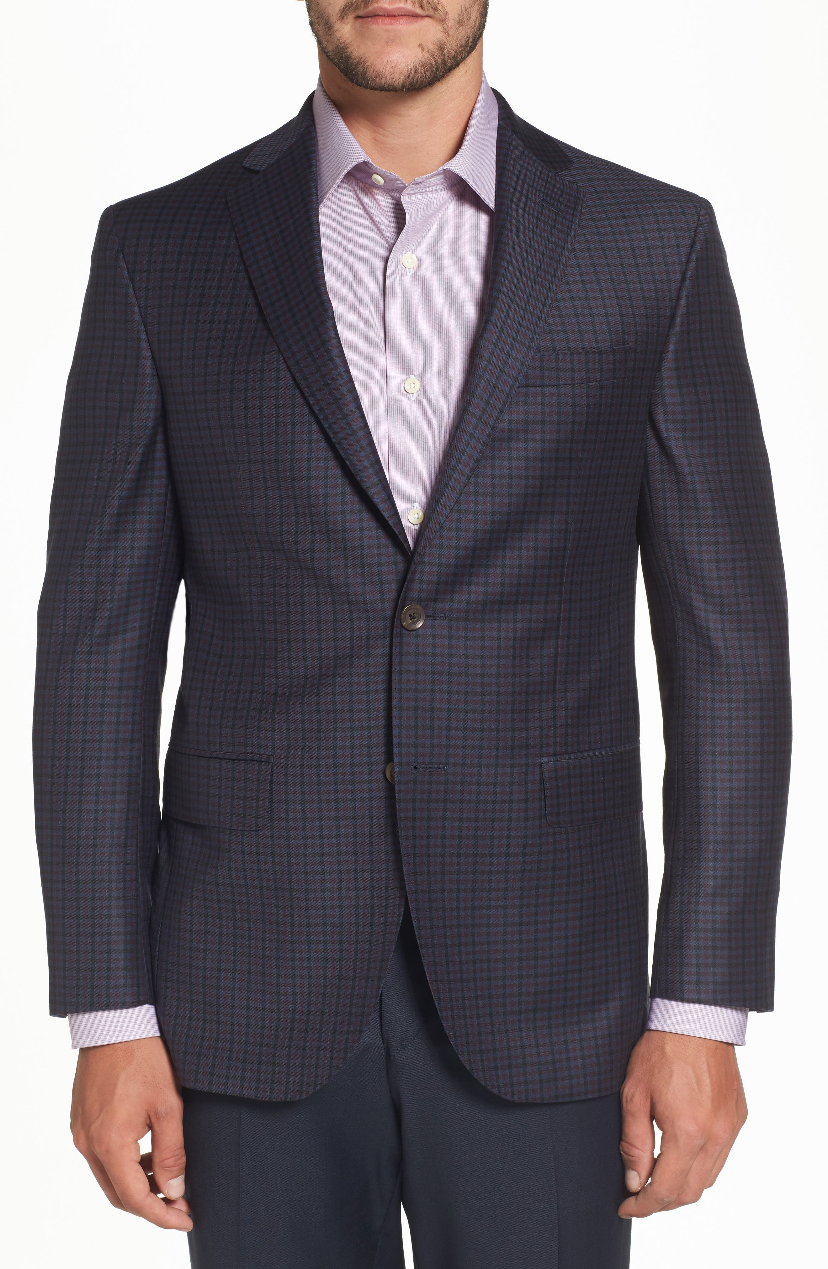 Connor Classic Fit Check Wool Sport Coat,                             Main thumbnail 1, color,                             400