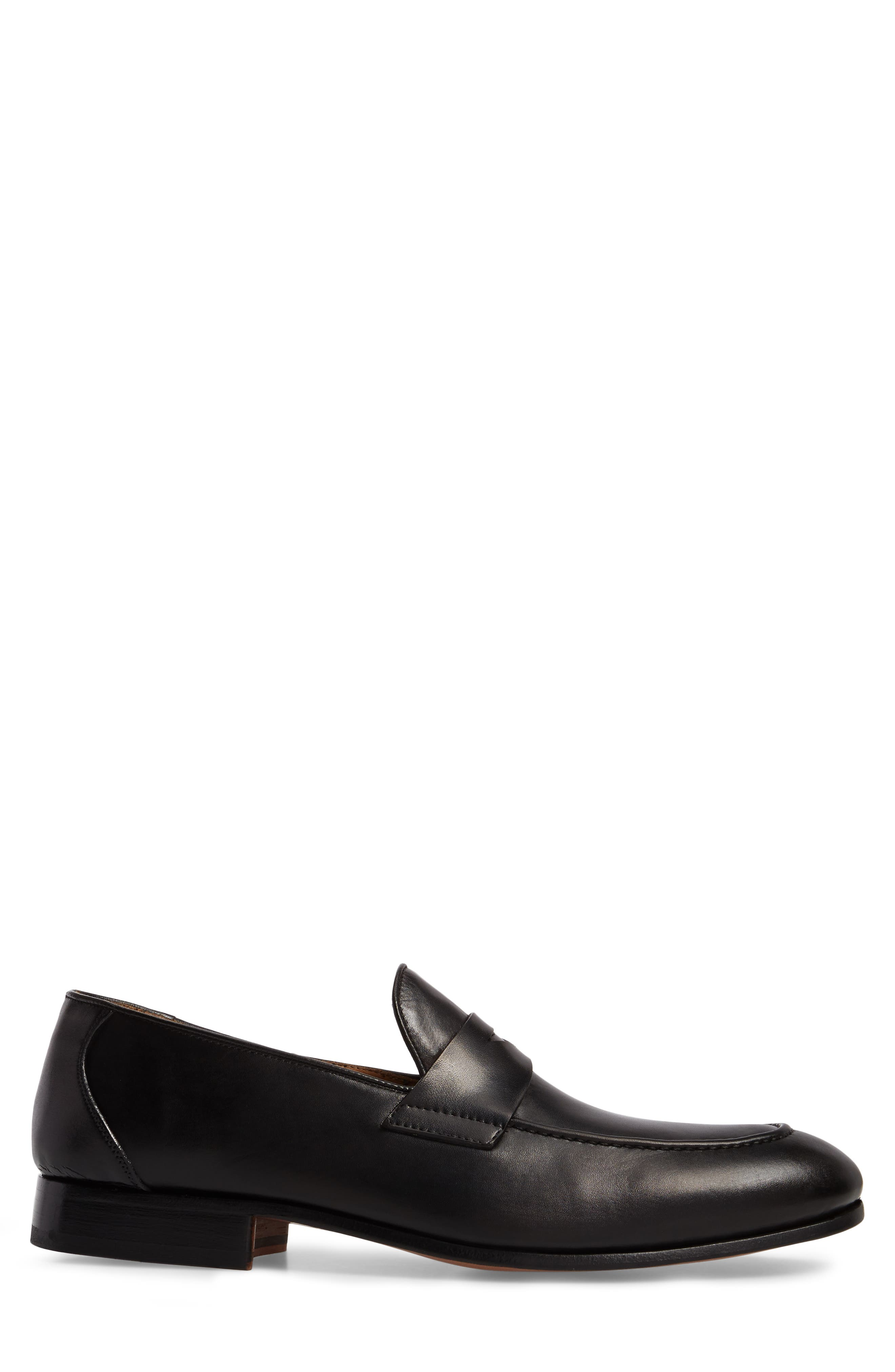 Alejo Apron Toe Penny Loafer,                             Alternate thumbnail 3, color,                             BLACK LEATHER