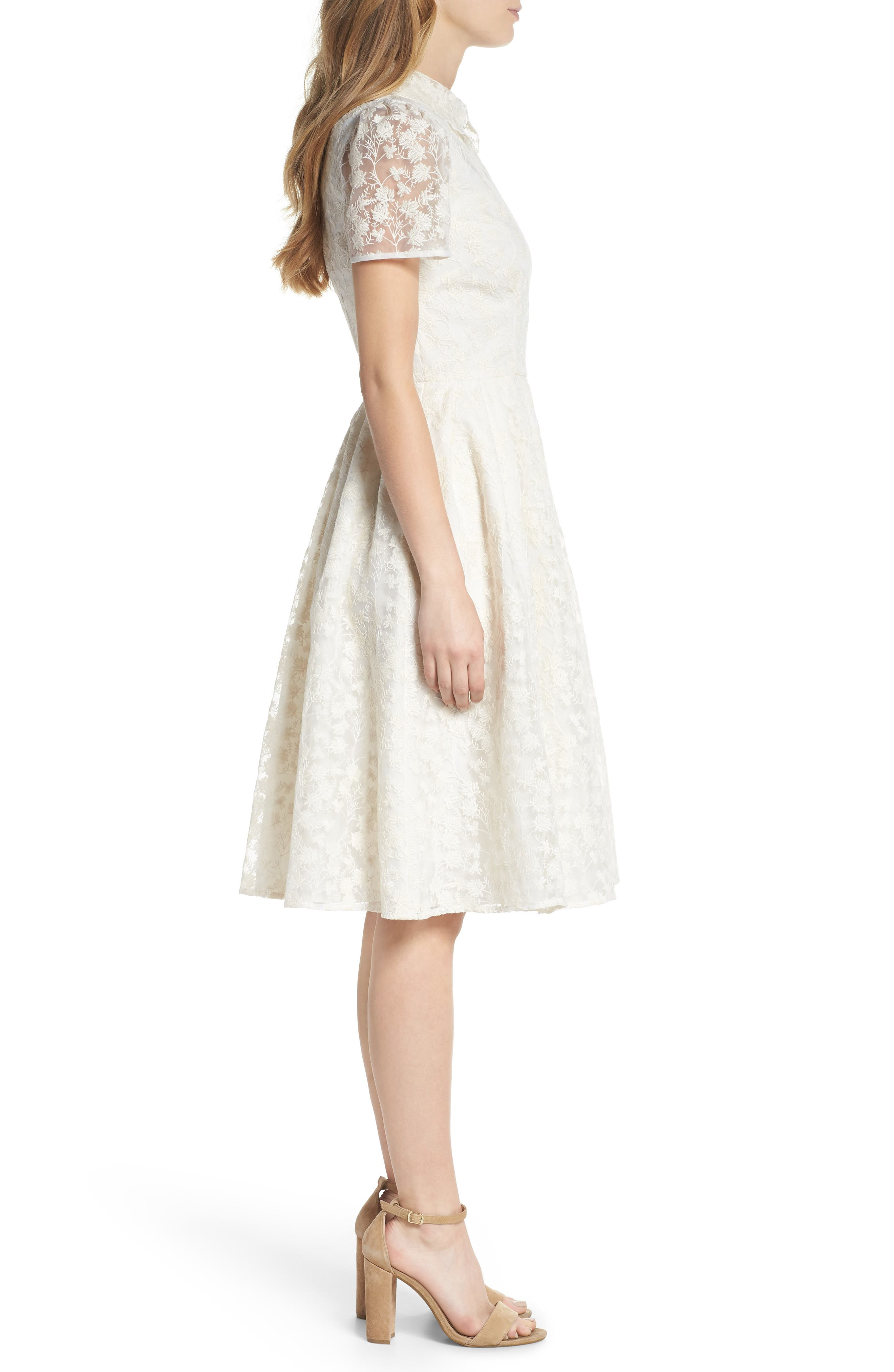 Amelia Embroidered Fit & Flare Dress,                             Alternate thumbnail 3, color,                             900