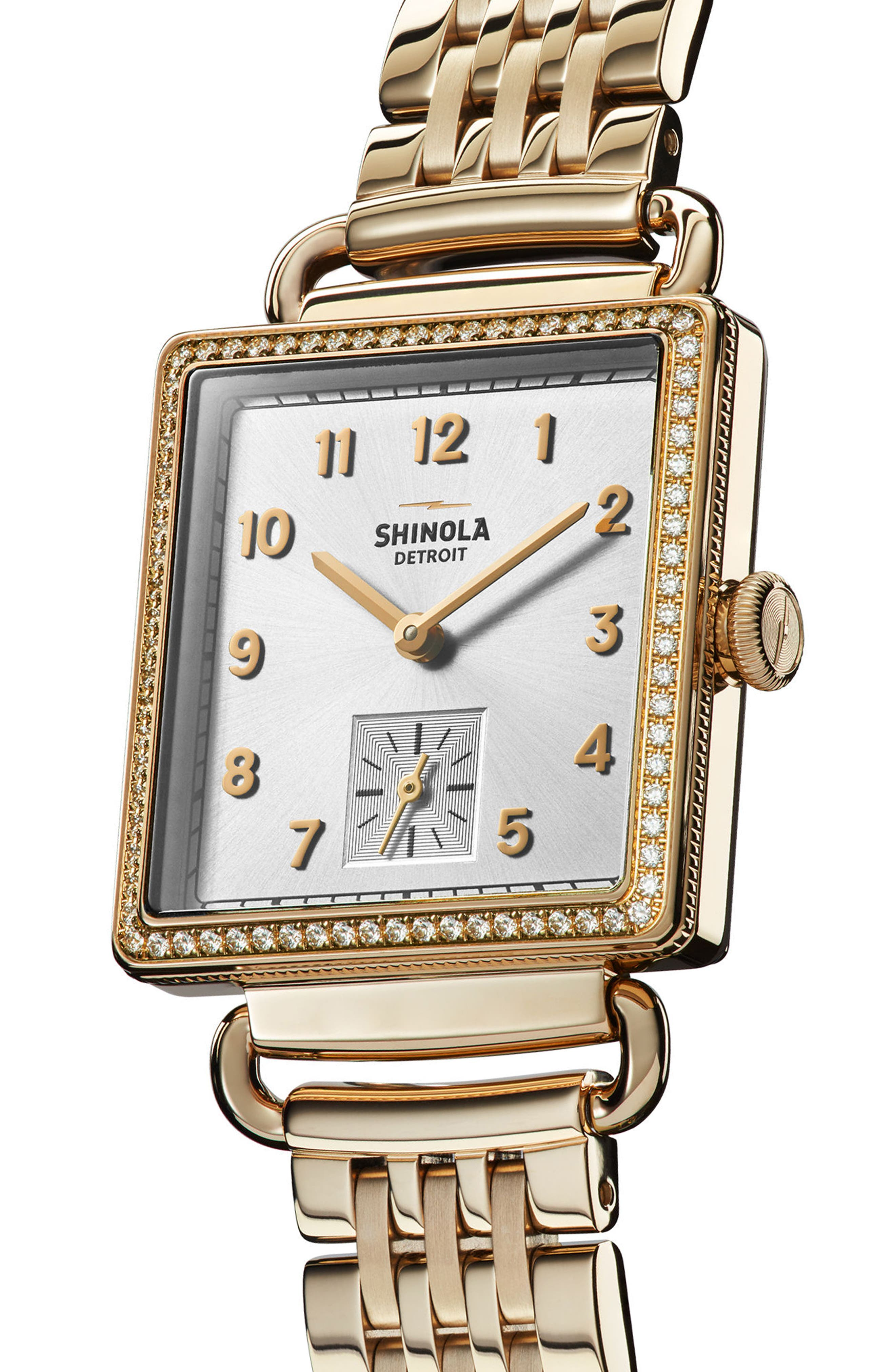 Cass Diamond Bracelet Watch, 28mm x 27mm,                             Alternate thumbnail 3, color,                             GOLD/ SILVER/ GOLD