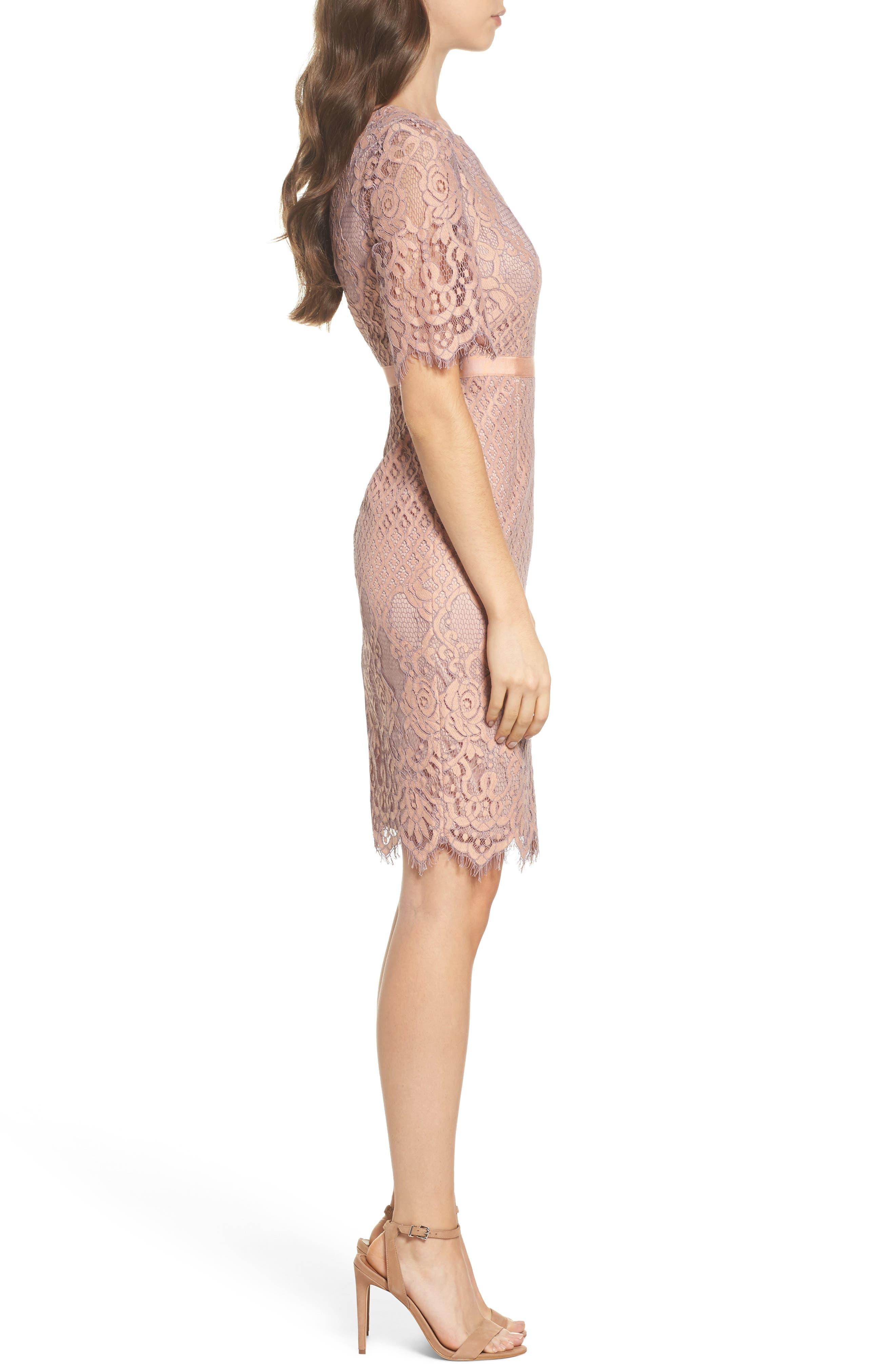 Lace Sheath Dress,                             Alternate thumbnail 3, color,                             950