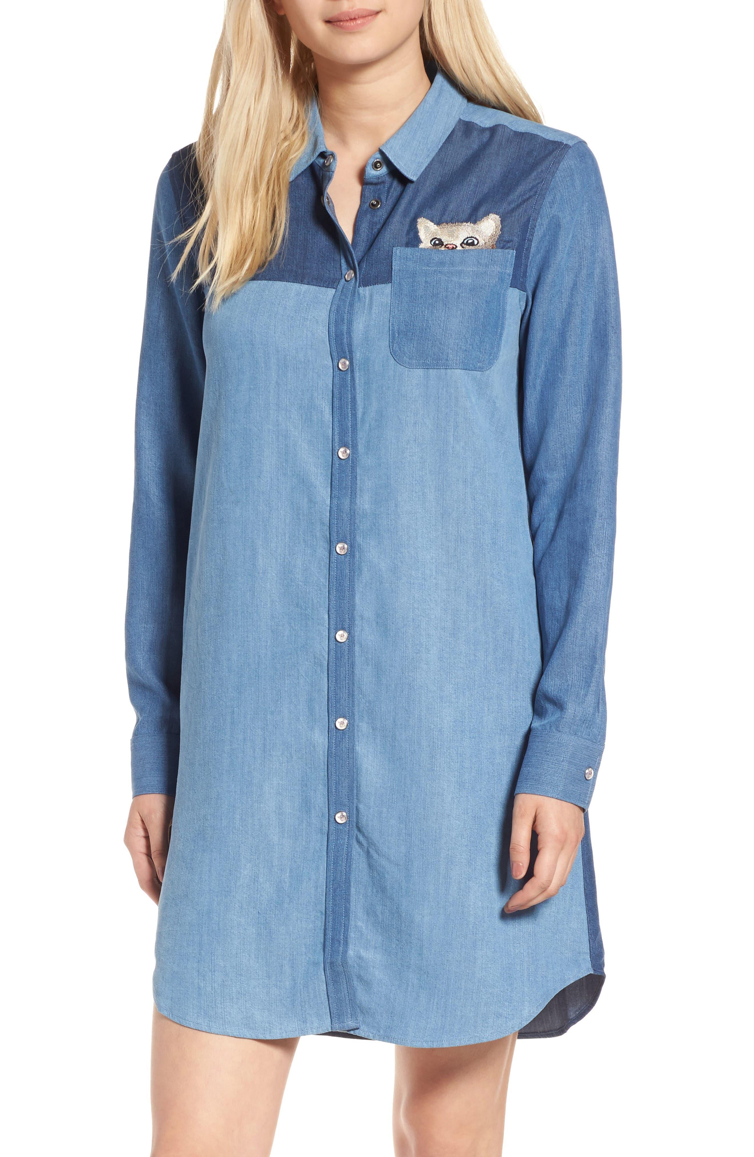 Kitty Chambray Shirtdress,                         Main,                         color, 482