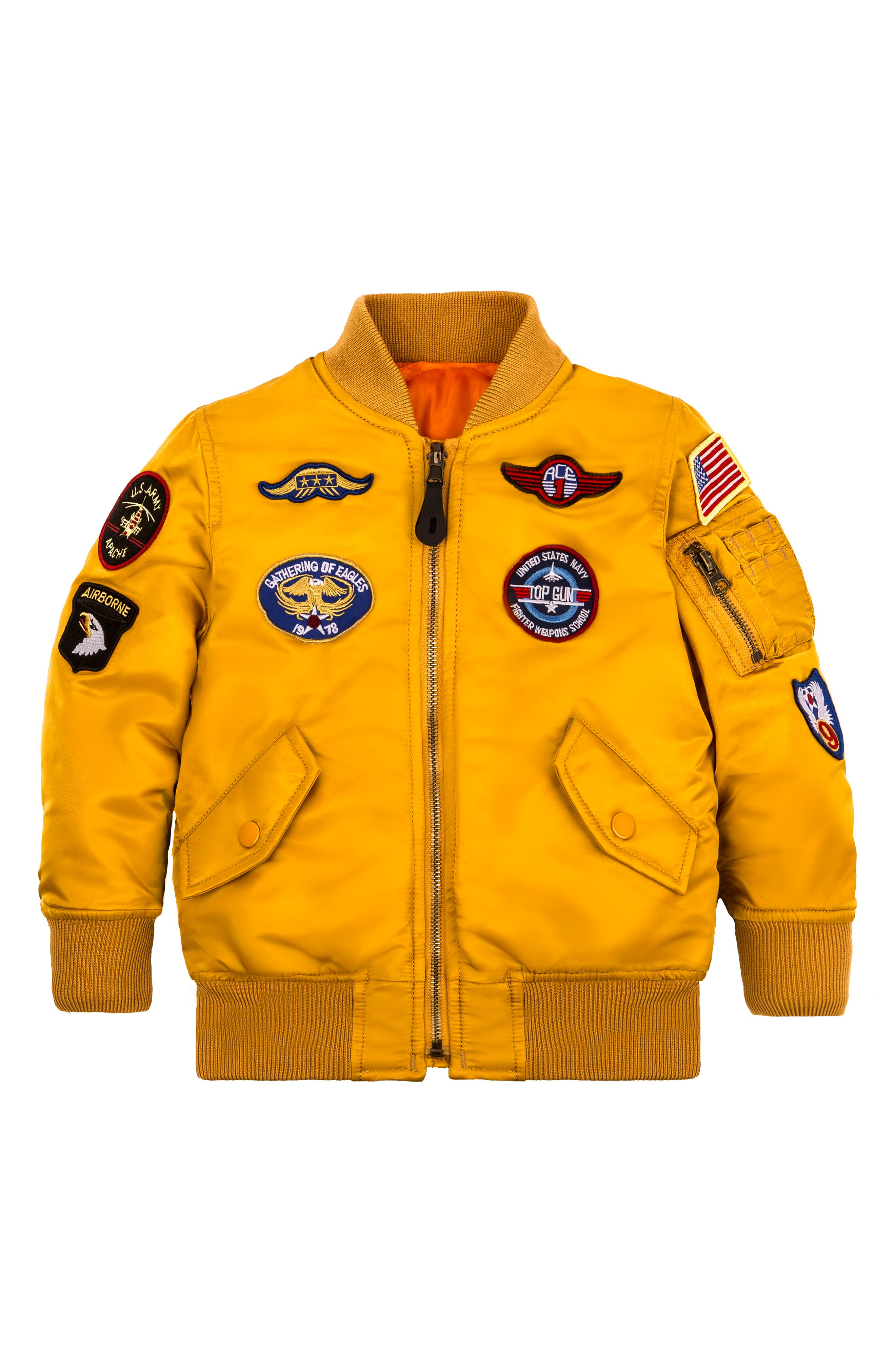MA-1 Patch Flight Jacket,                             Main thumbnail 1, color,                             GOLDEN YELLOW