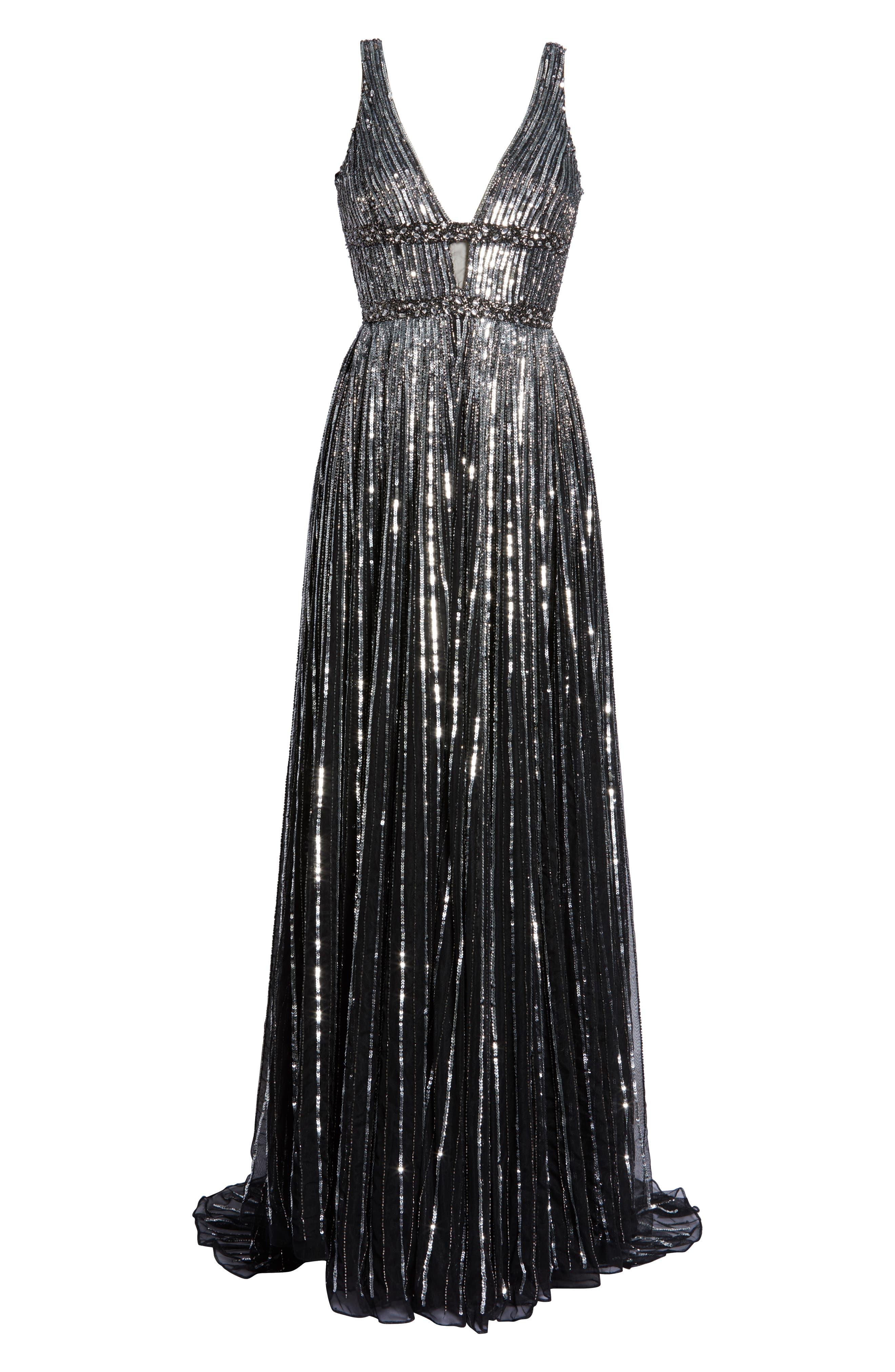 Deep V-Neck Sequin Stripe Gown,                             Alternate thumbnail 7, color,                             BLACK SILVER