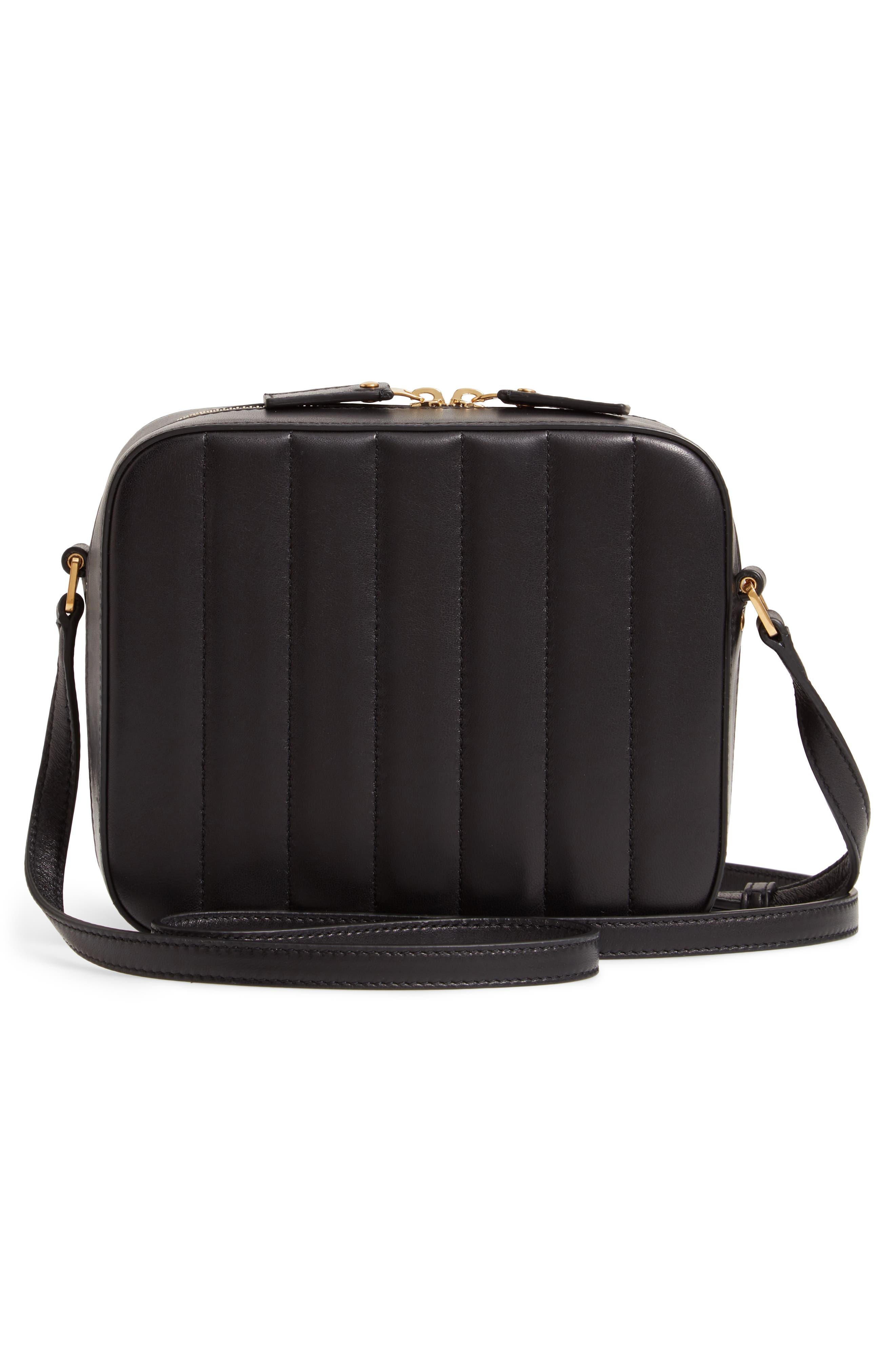 Vicky Leather Camera Bag,                             Alternate thumbnail 3, color,                             NOIR