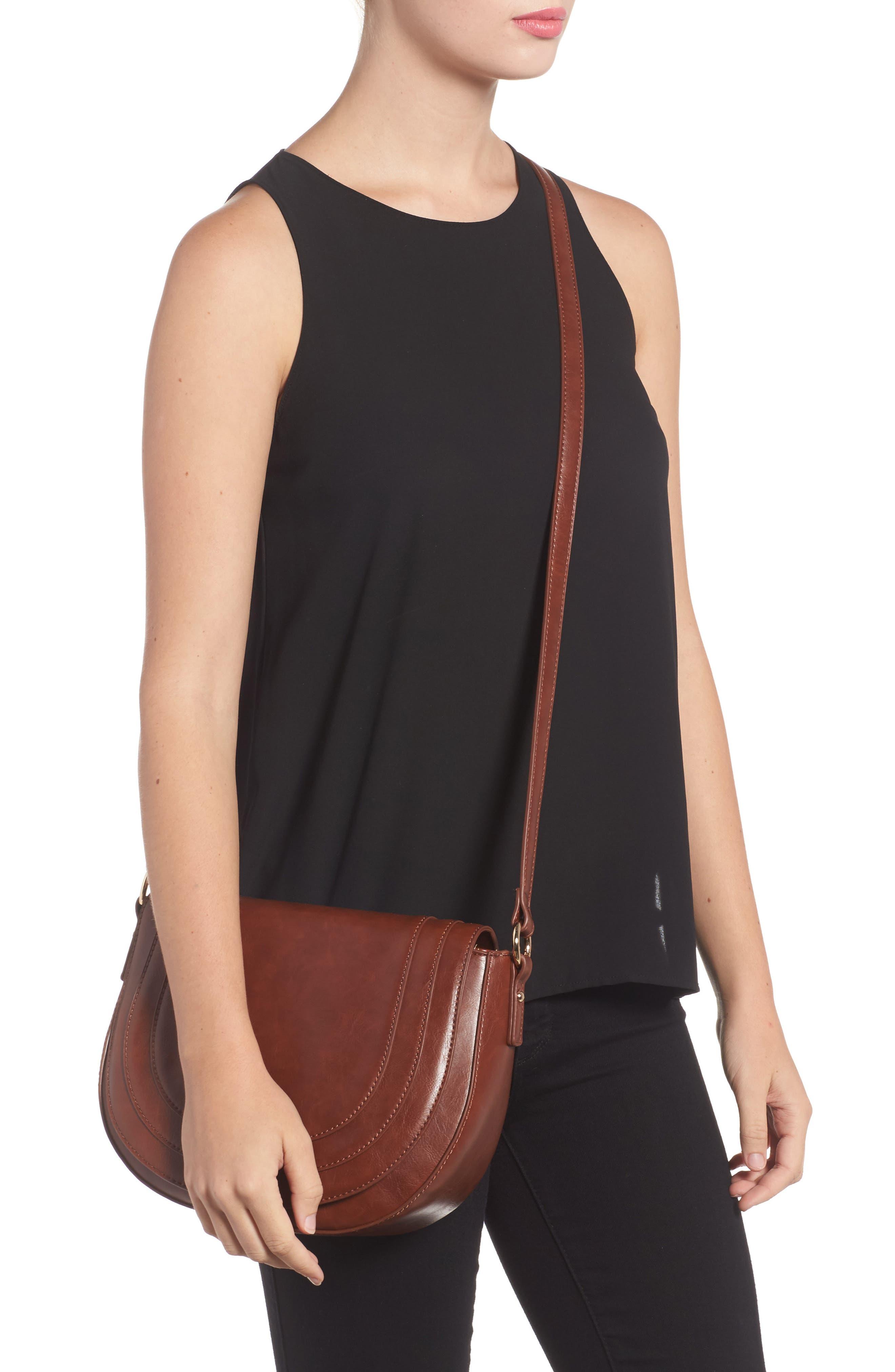 Piri Faux Leather Saddle Bag,                             Alternate thumbnail 6, color,