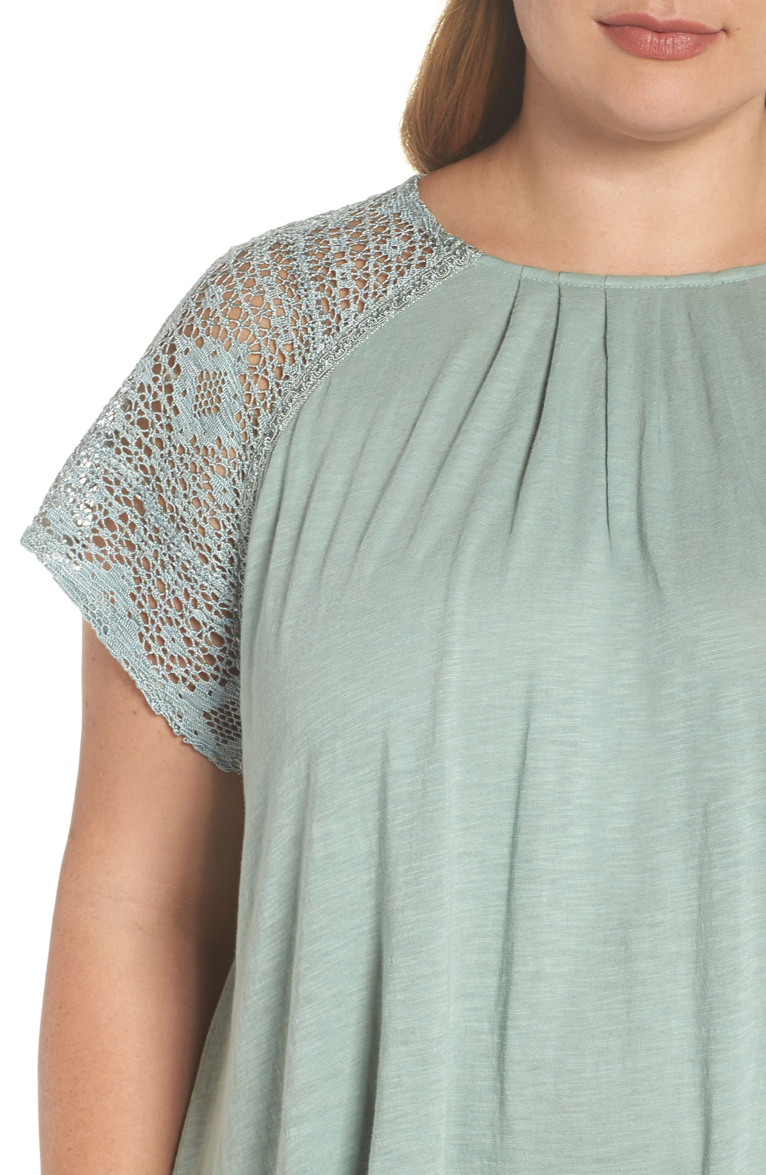 Lace Sleeve Top,                             Alternate thumbnail 4, color,                             ICEBERG GREEN