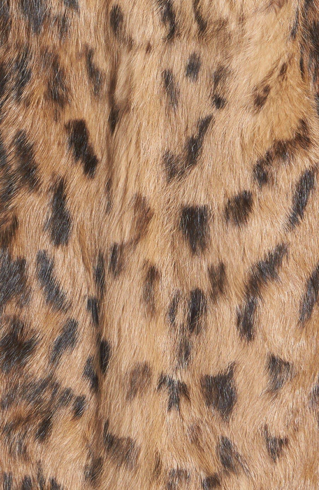 'Jessica' Leopard Print Genuine Rabbit Fur Jacket,                             Alternate thumbnail 3, color,                             200
