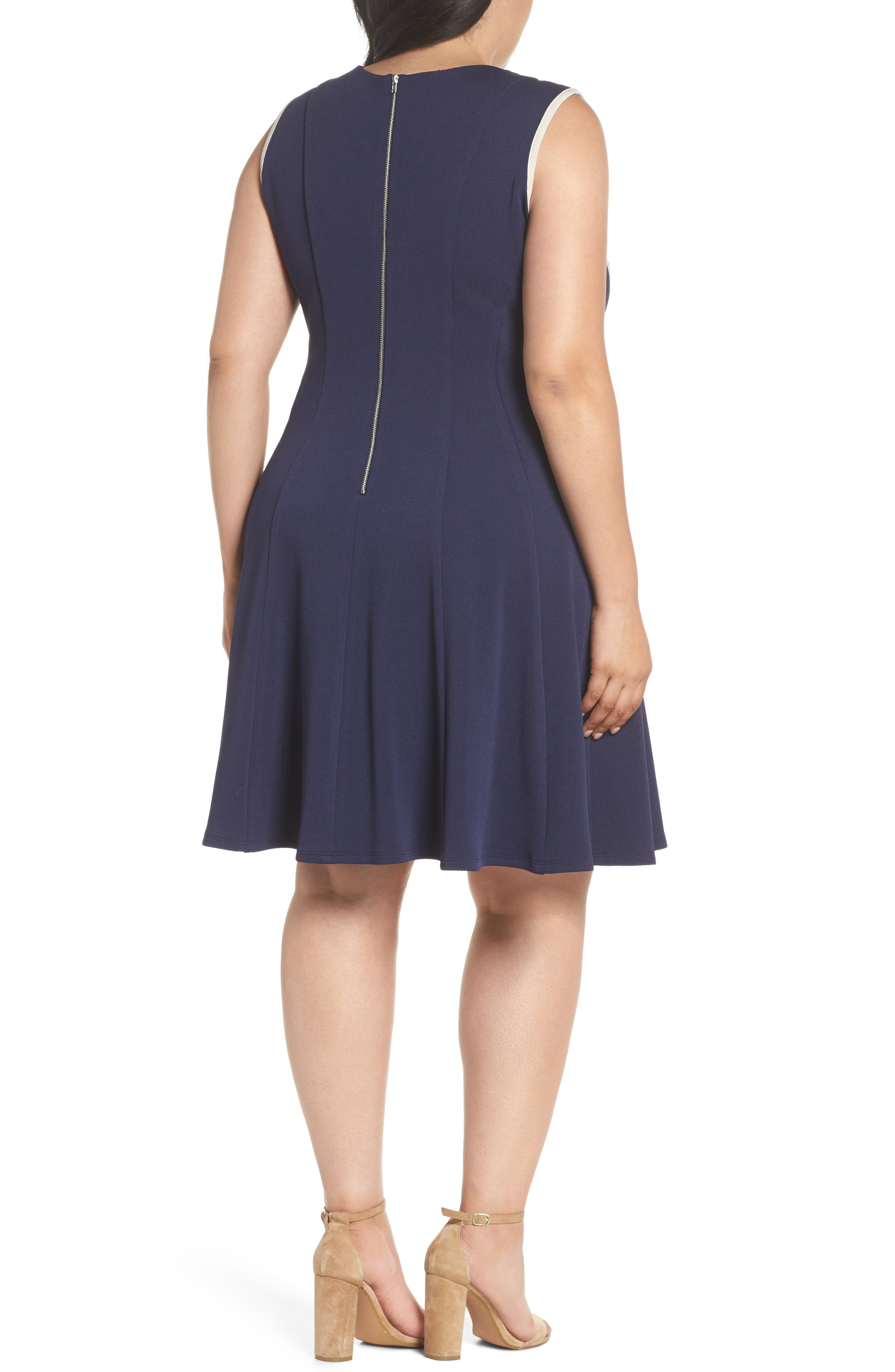 Piping Detail Fit & Flare Dress,                             Alternate thumbnail 2, color,                             410