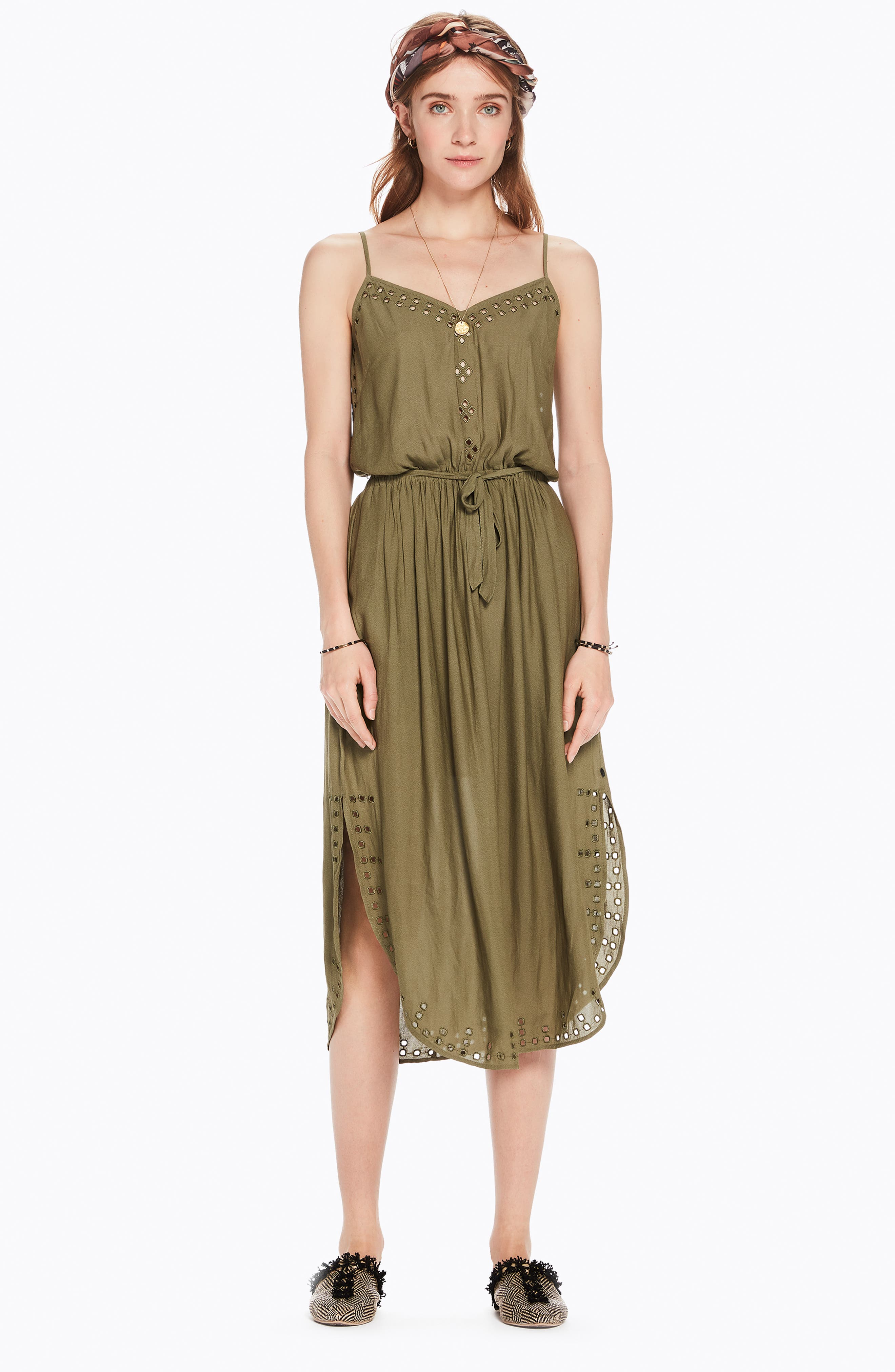 Strappy Cutout Midi Dress,                             Alternate thumbnail 8, color,                             ARMY