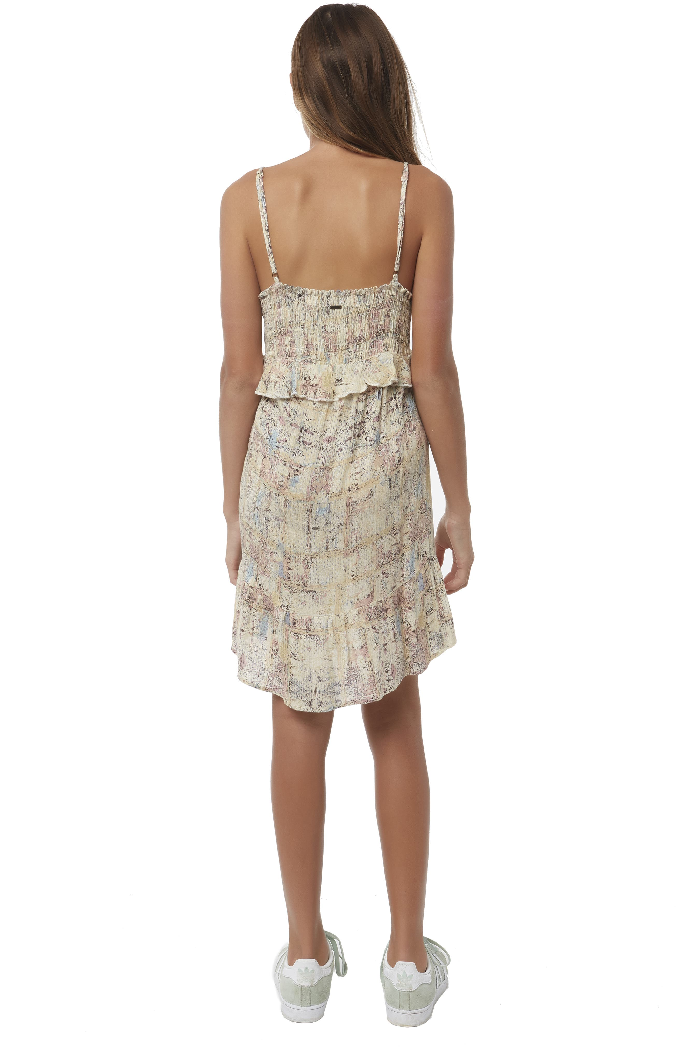 Lithia Peplum High/Low Dress,                             Alternate thumbnail 3, color,                             MULTI COLORED