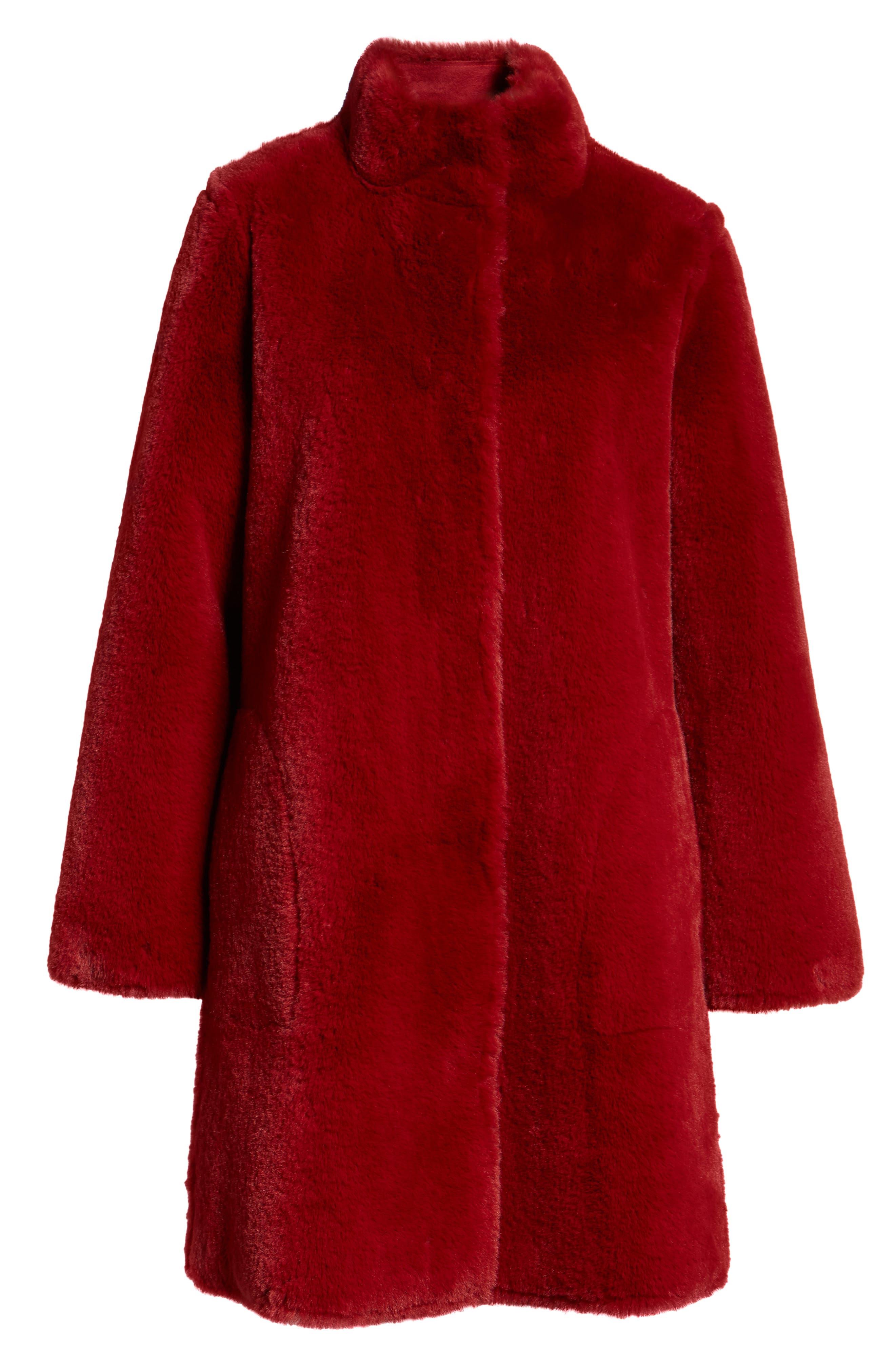 Faux Fur Reversible Coat,                             Alternate thumbnail 7, color,                             RED