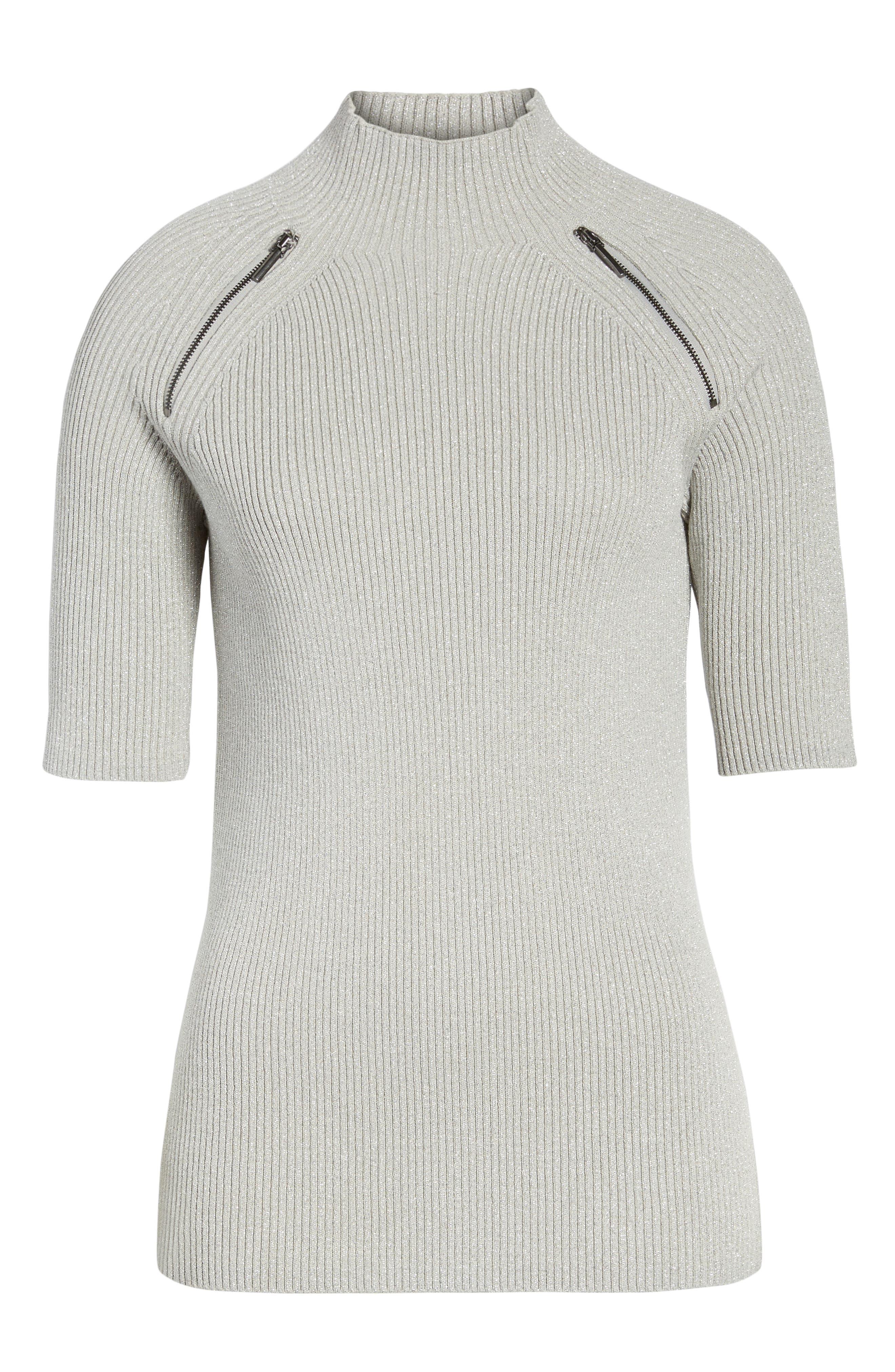 Elbow Sleeve Mock Neck Sweater,                             Alternate thumbnail 6, color,                             LIGHT GRAY