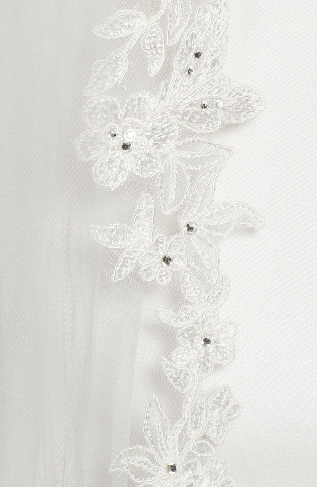 'Angelina' Lace Trim Tulle Veil,                             Alternate thumbnail 3, color,                             IVORY