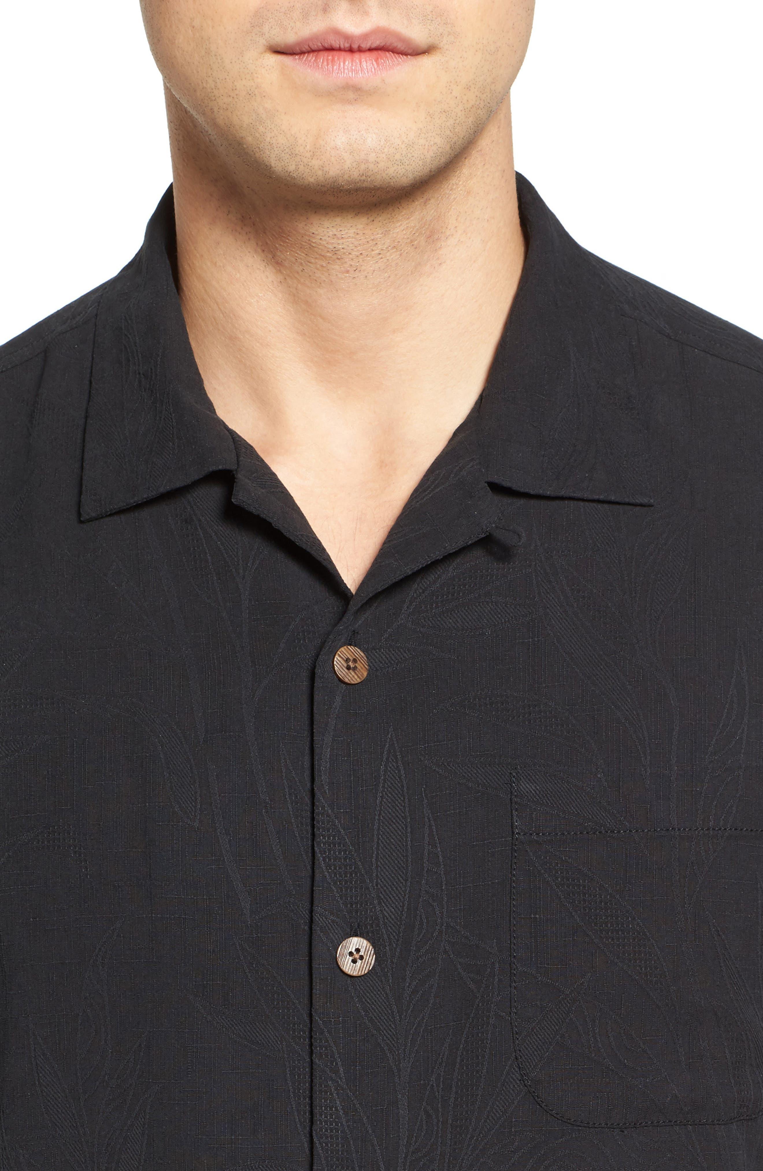 Islander Fronds Silk Camp Shirt,                             Alternate thumbnail 4, color,                             001