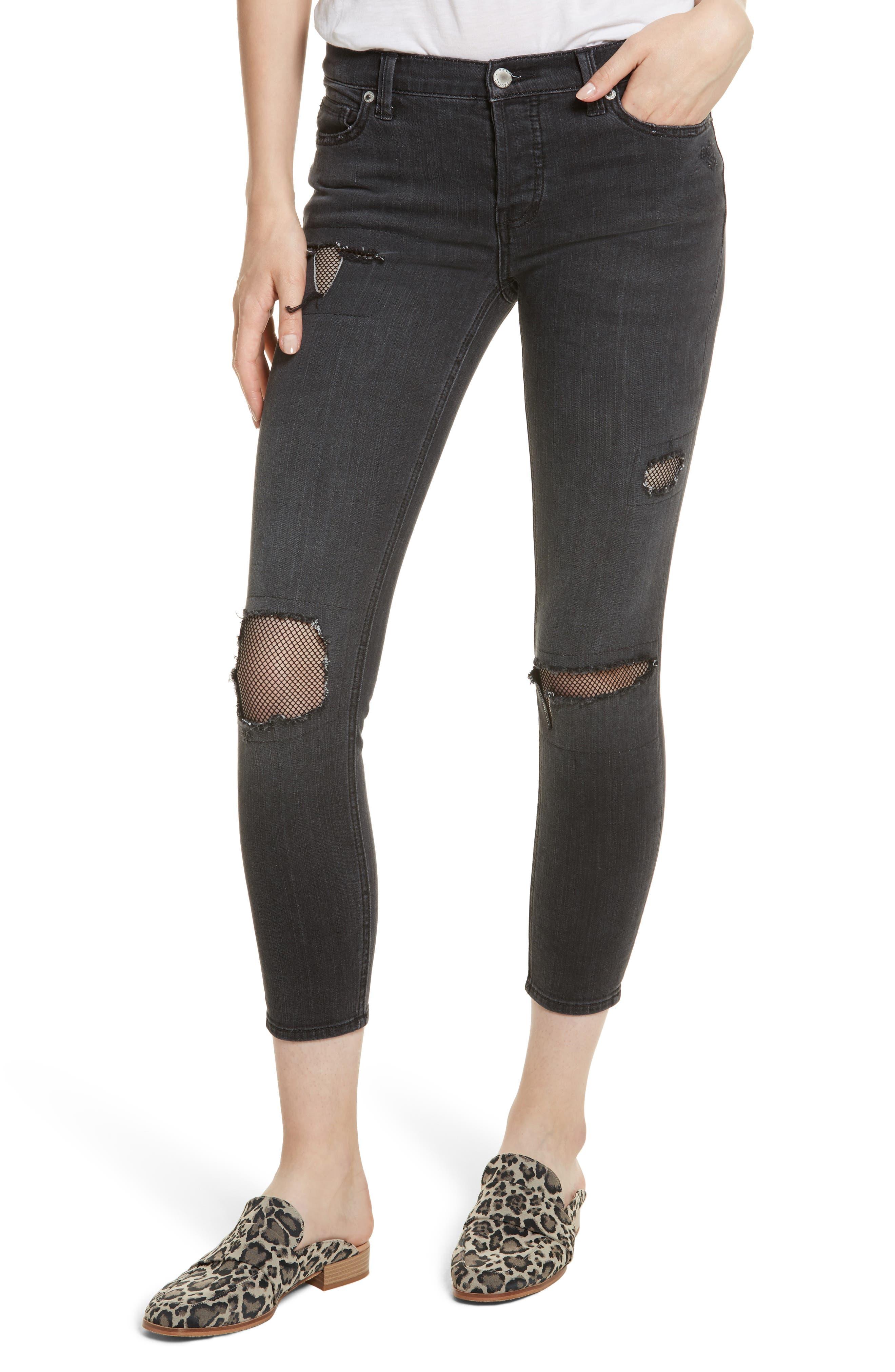 Fishnet Crop Skinny Jeans,                             Main thumbnail 1, color,                             001
