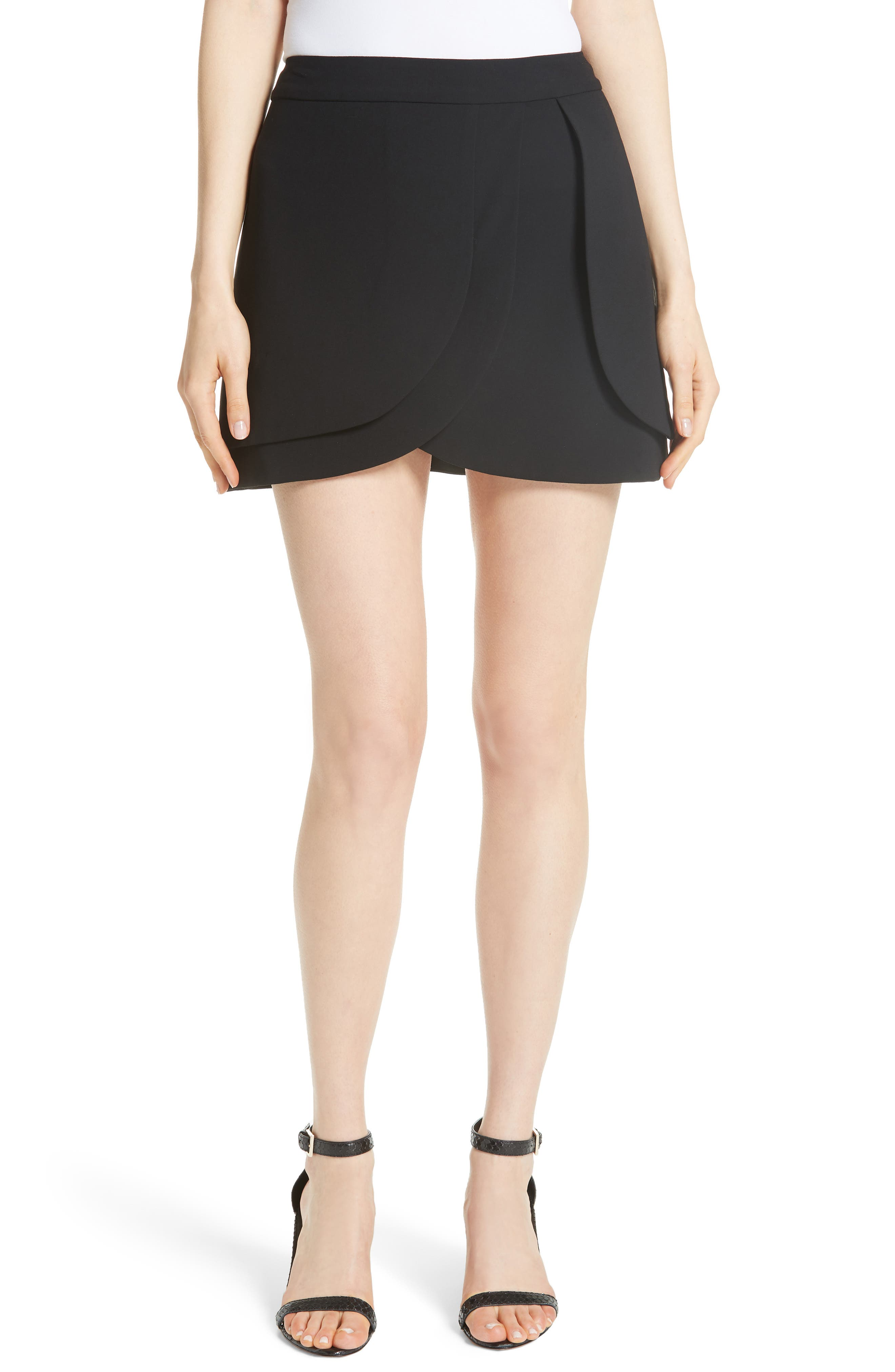 Nicolina Layered Tulip Miniskirt,                             Main thumbnail 1, color,                             BLACK