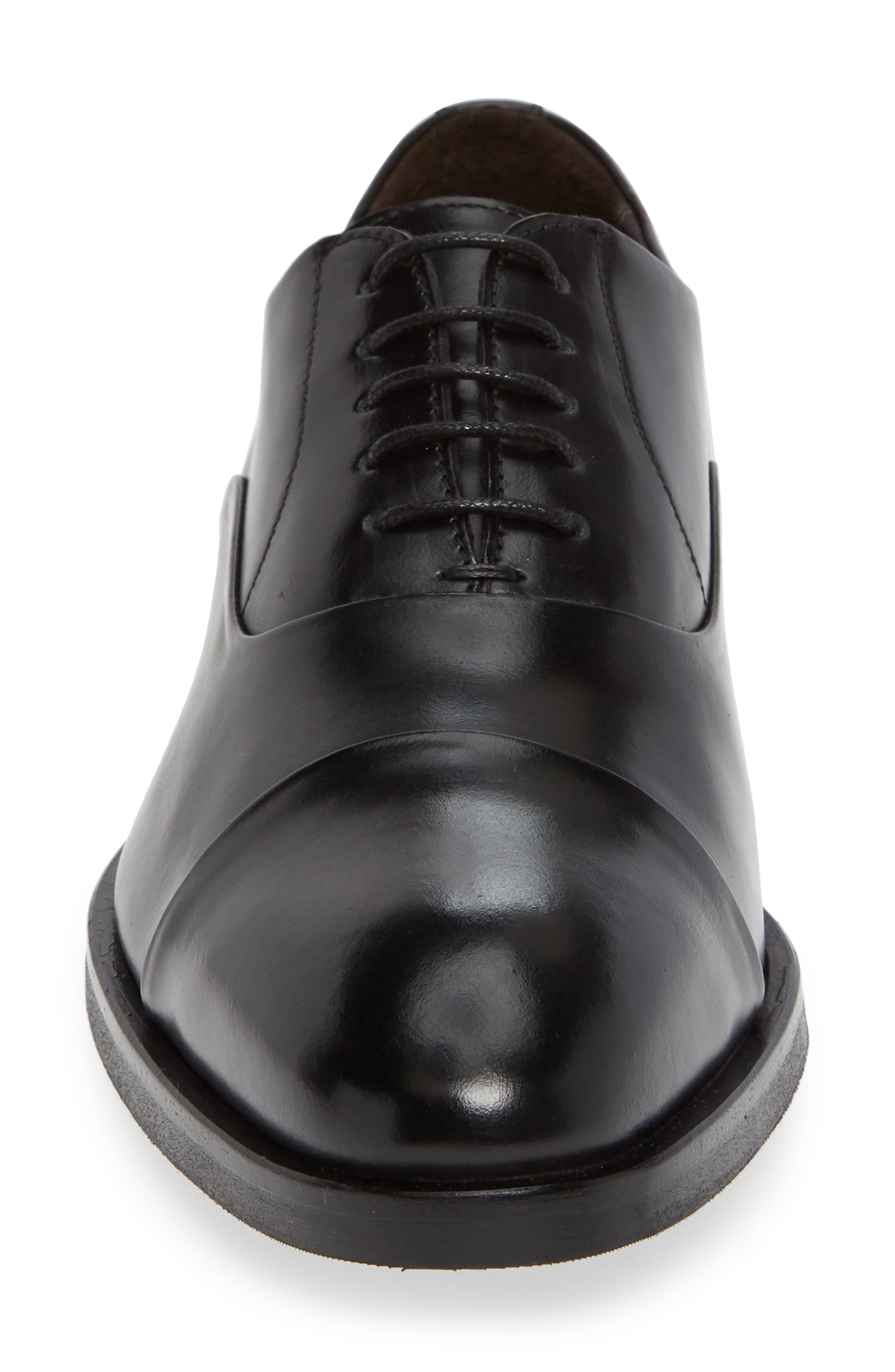 Hudson Cap Toe Oxford,                             Alternate thumbnail 4, color,                             BLACK LEATHER