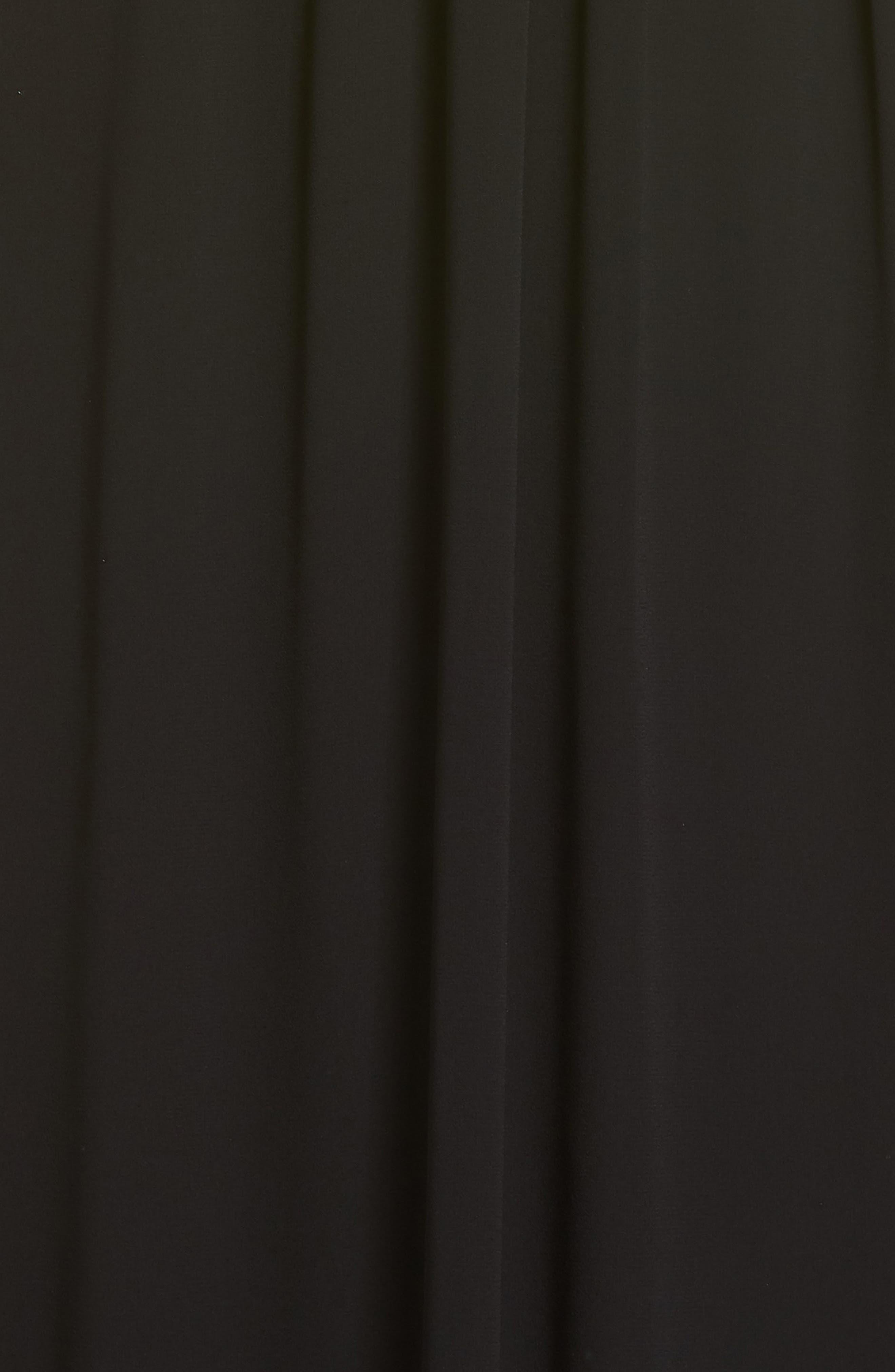 V-Neck Chiffon Gown,                             Alternate thumbnail 6, color,                             BLACK