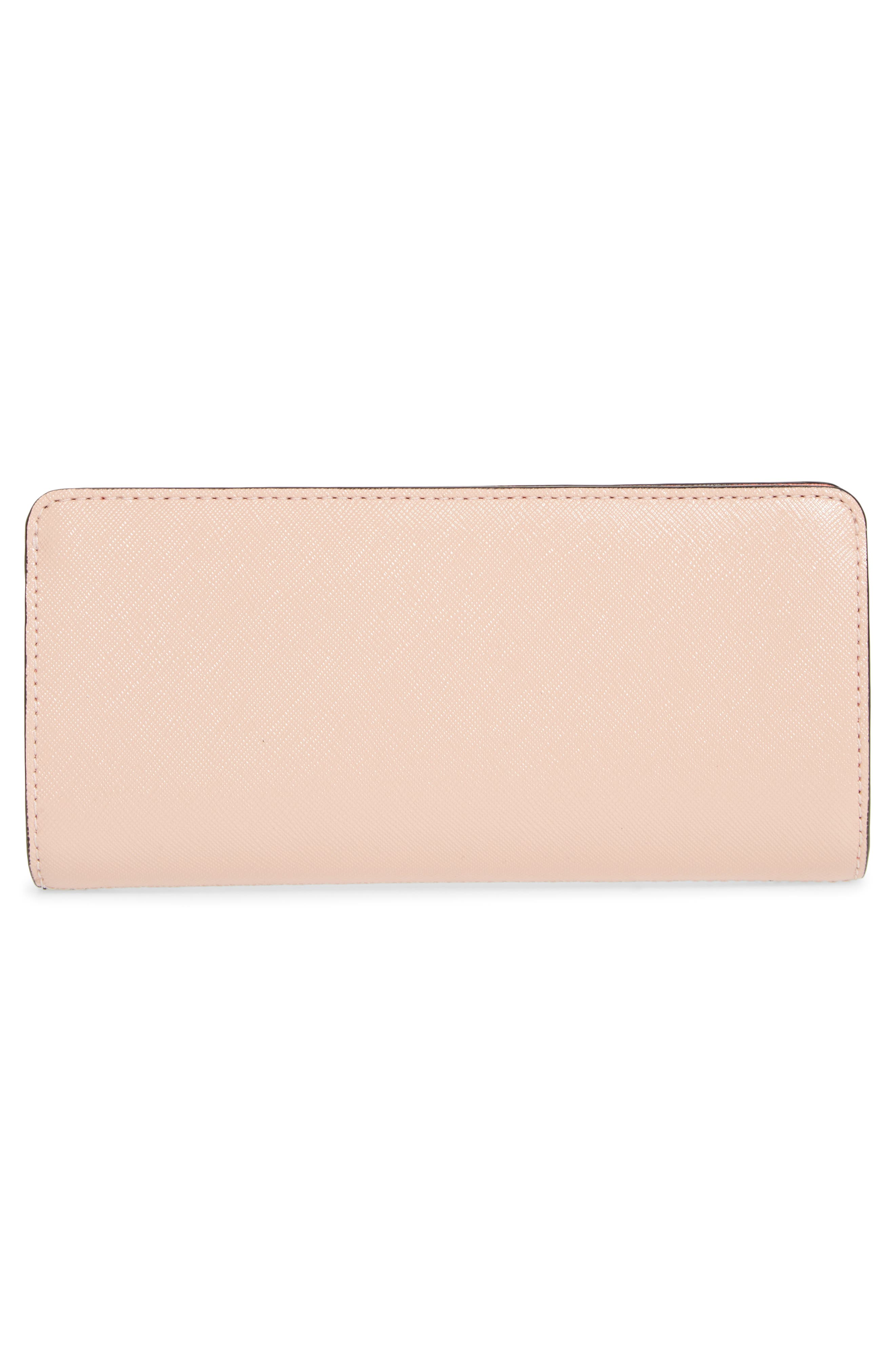 Snapshot Open Face Leather Wallet,                             Alternate thumbnail 3, color,                             BLACK/ ROSE