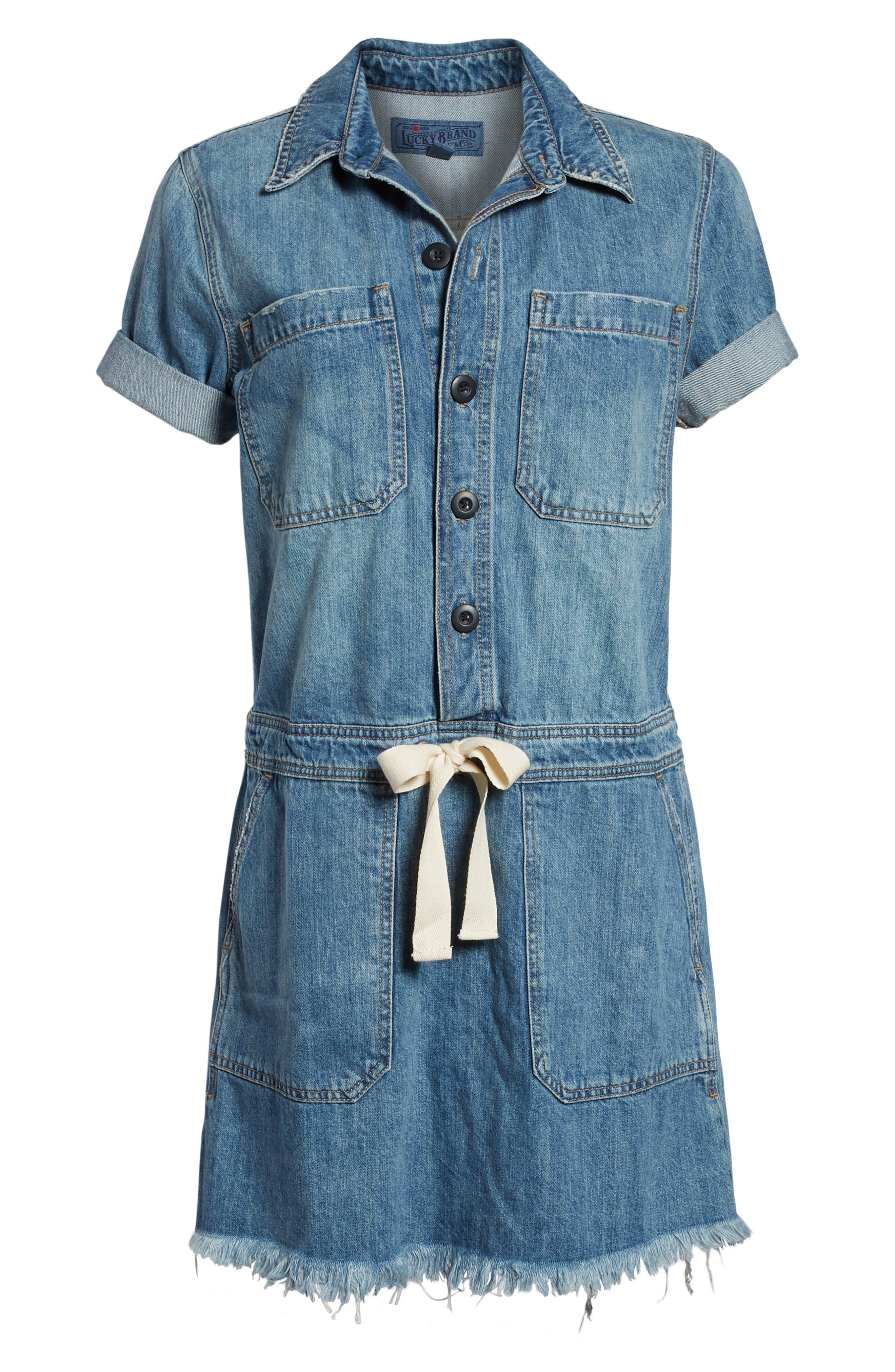 LUCKY BRAND,                             Drawstring Denim Dress,                             Alternate thumbnail 6, color,                             430