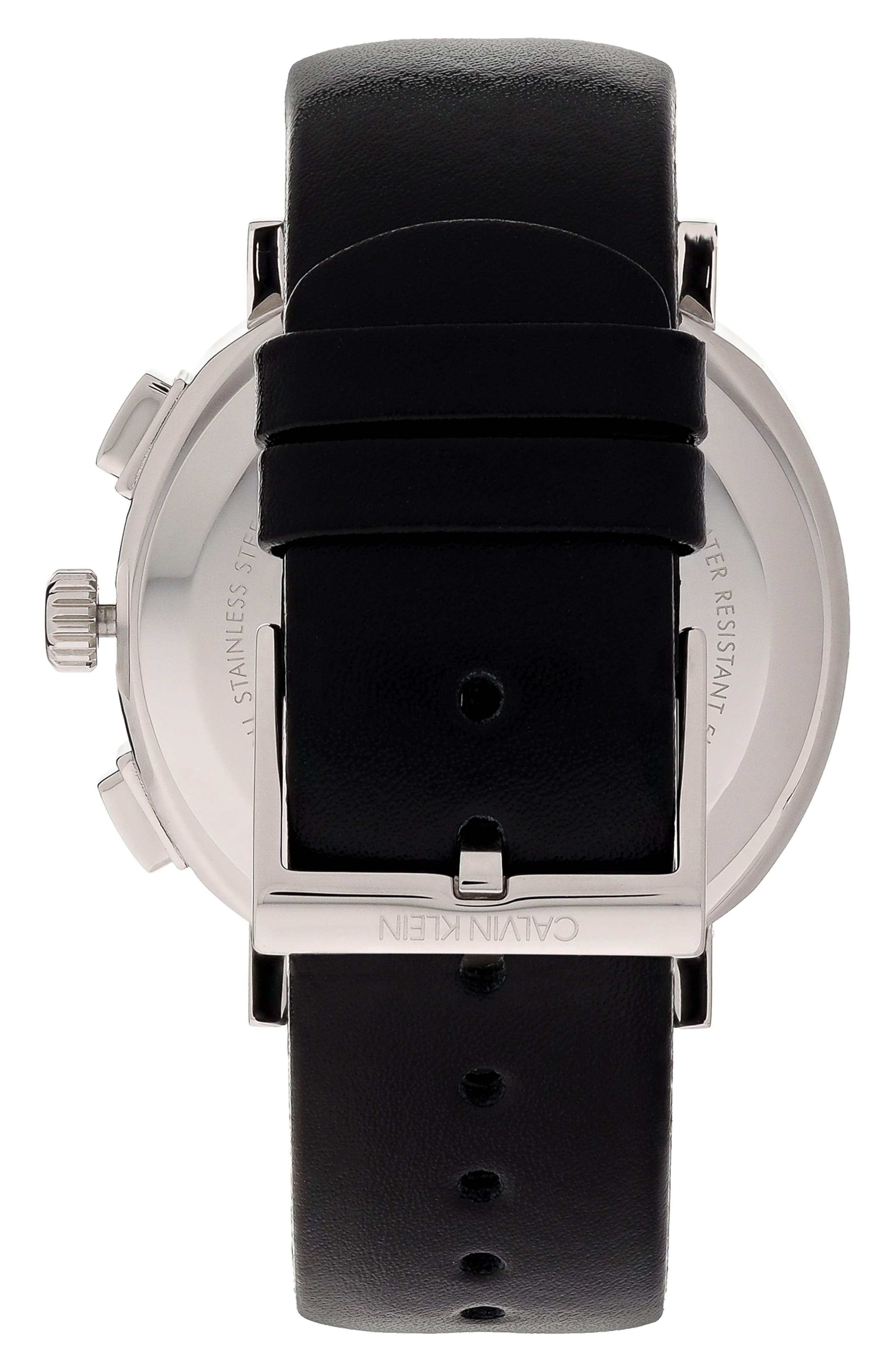 Posh Chronograph Leather Band Watch, 42mm,                             Alternate thumbnail 2, color,                             BLACK/ SILVER/ BLACK
