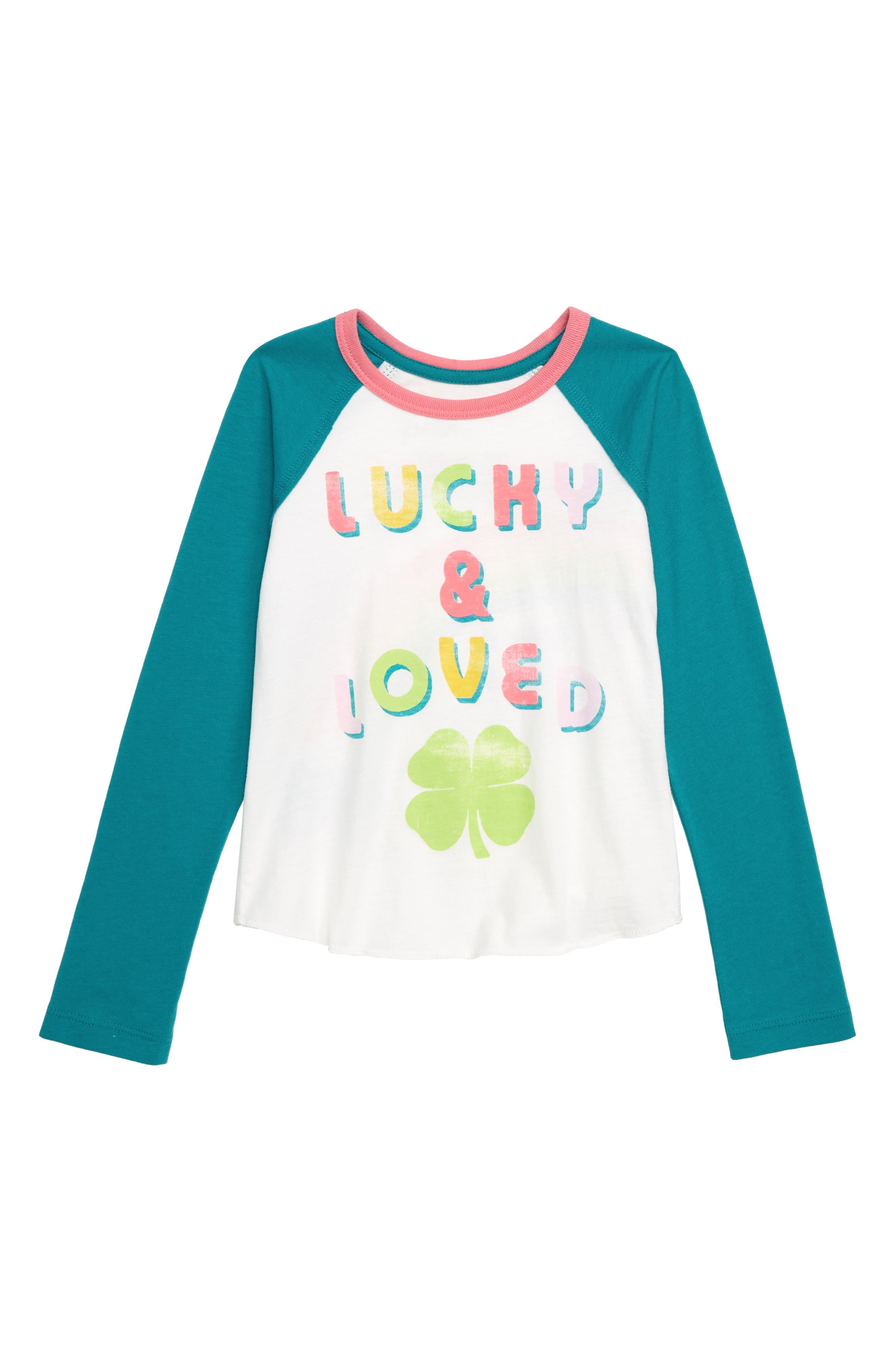 Lucky & Loved Long Sleeve Tee,                             Main thumbnail 1, color,                             GREEN