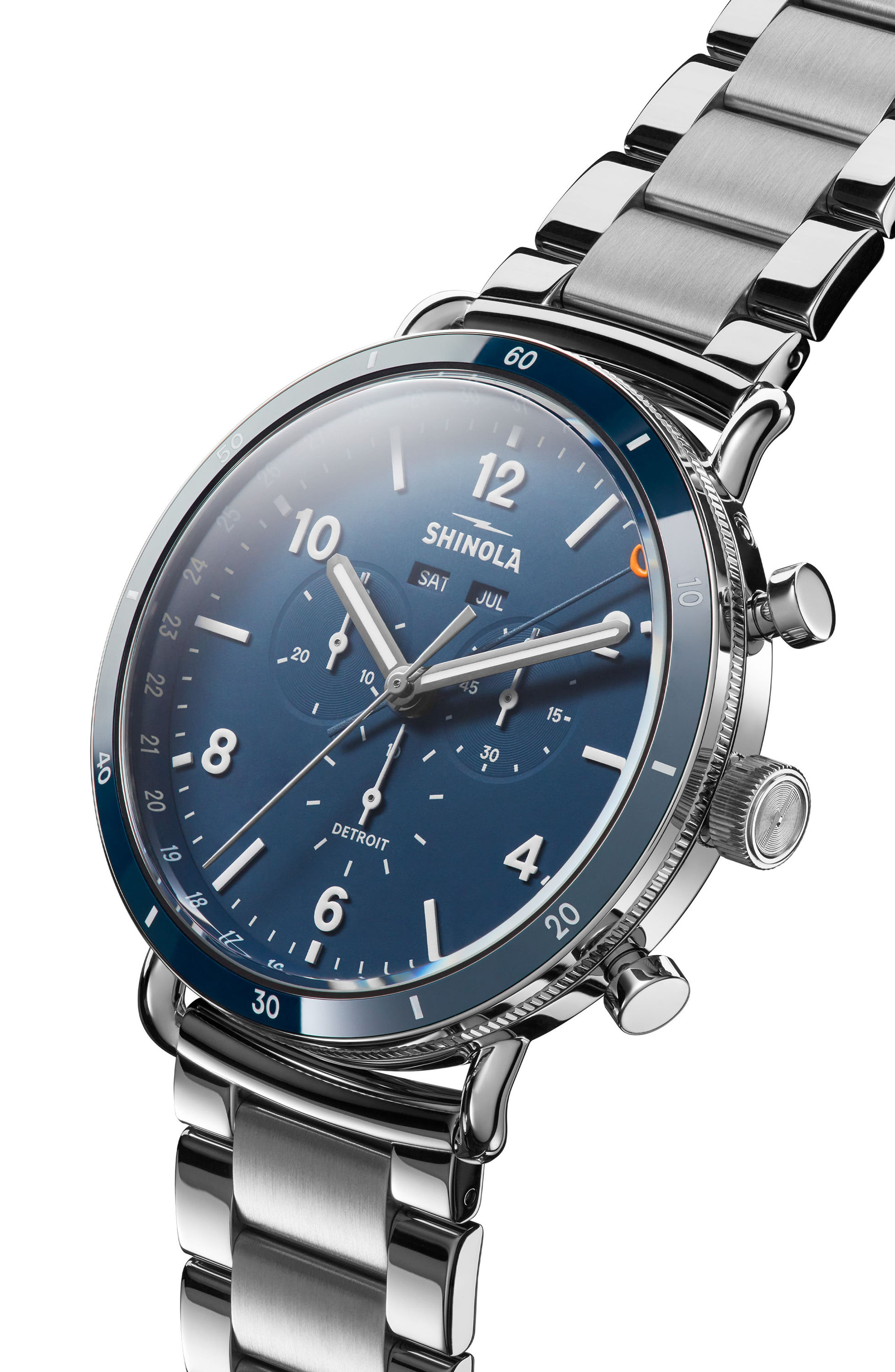 The Canfield Chrono Bracelet Watch, 45mm,                             Alternate thumbnail 6, color,                             SILVER/ MIDNIGHT BLUE/ SILVER
