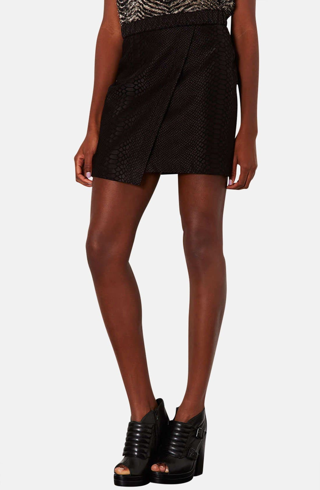 TOPSHOP Snakeskin Motif Faux Wrap Skirt, Main, color, 001