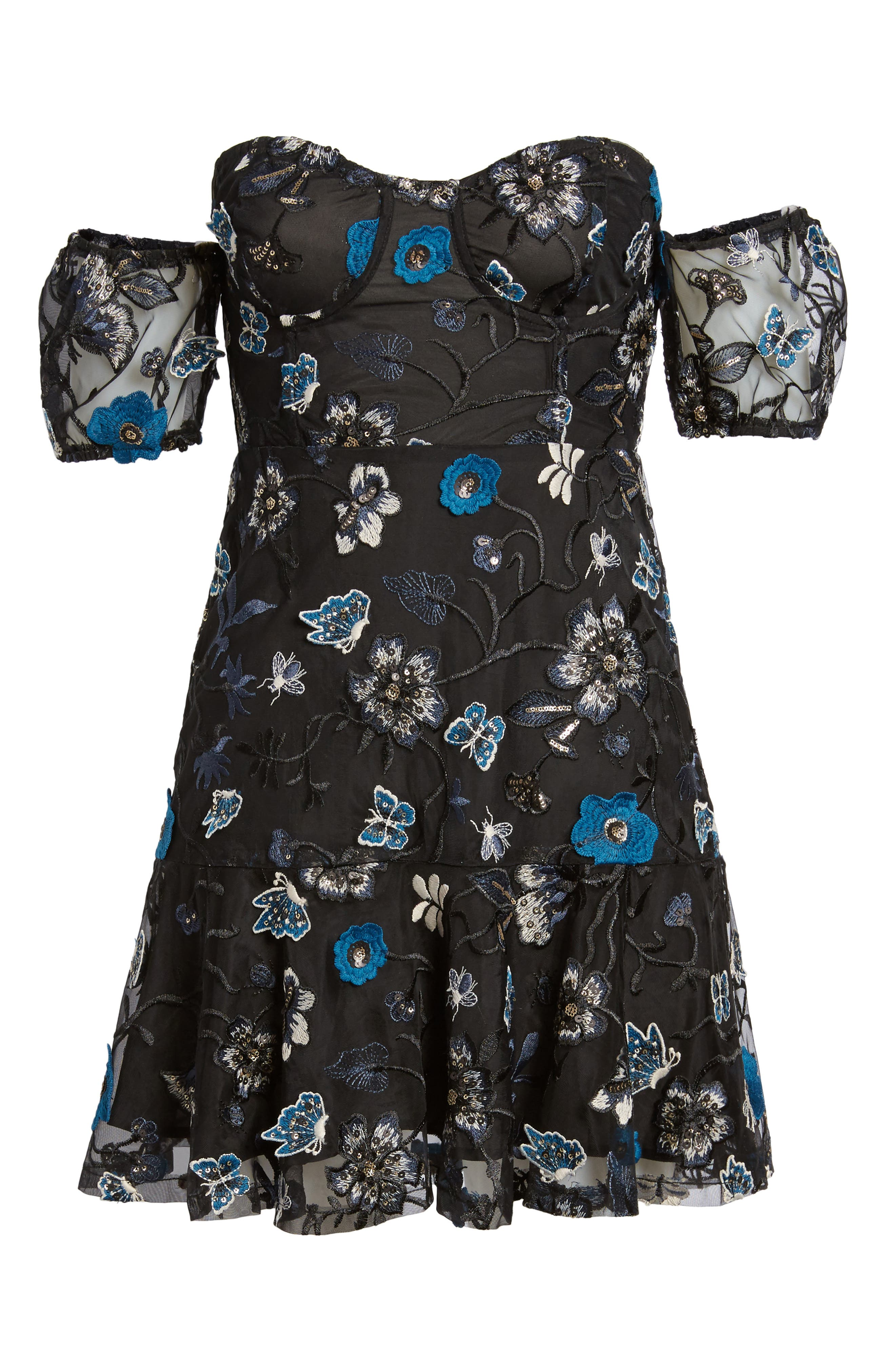 Bontanic Off the Shoulder Dress,                             Alternate thumbnail 6, color,                             002