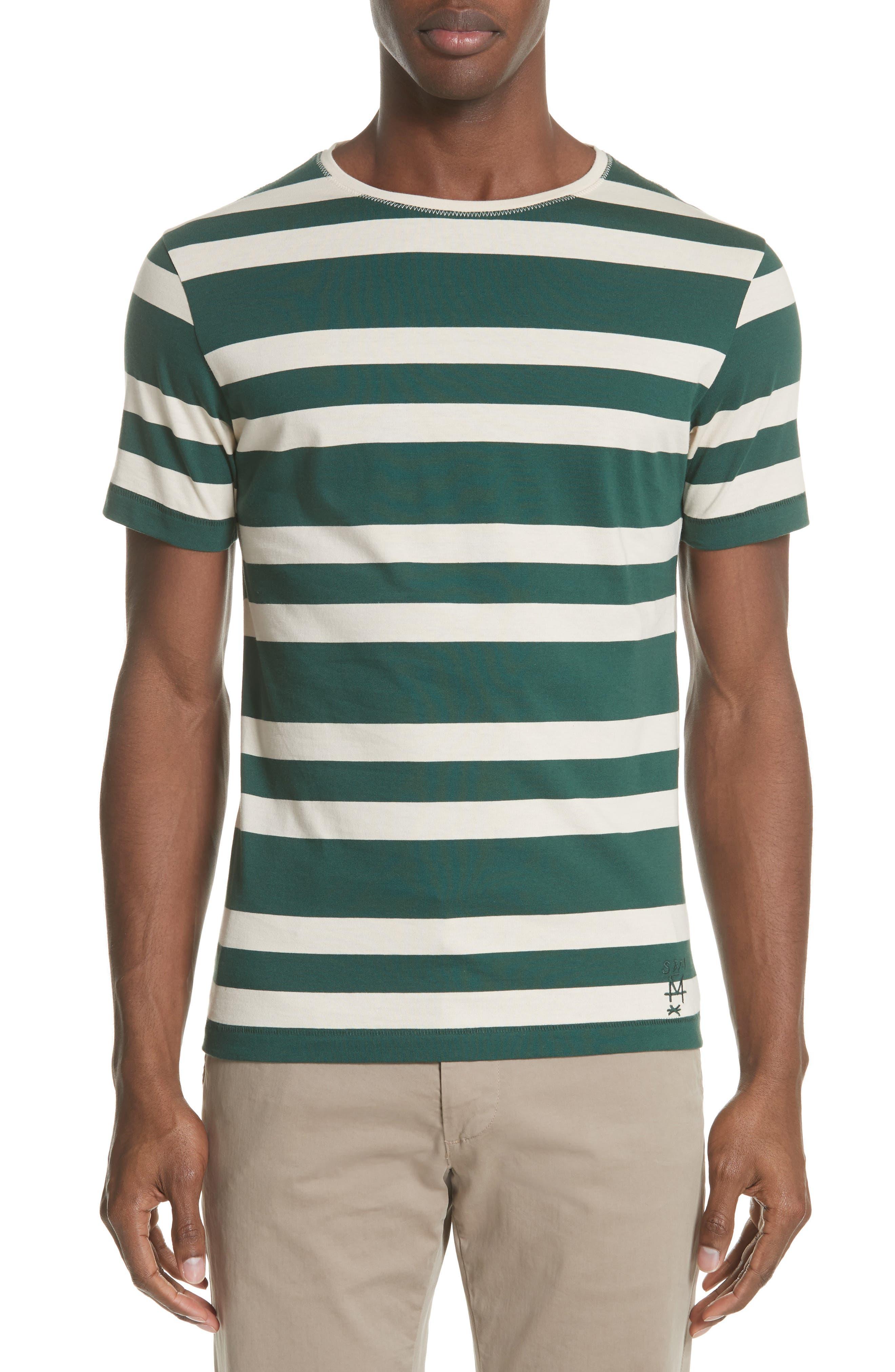 Crawley Stripe T-Shirt,                             Main thumbnail 1, color,                             OFF WHITE/ PINE GREEN